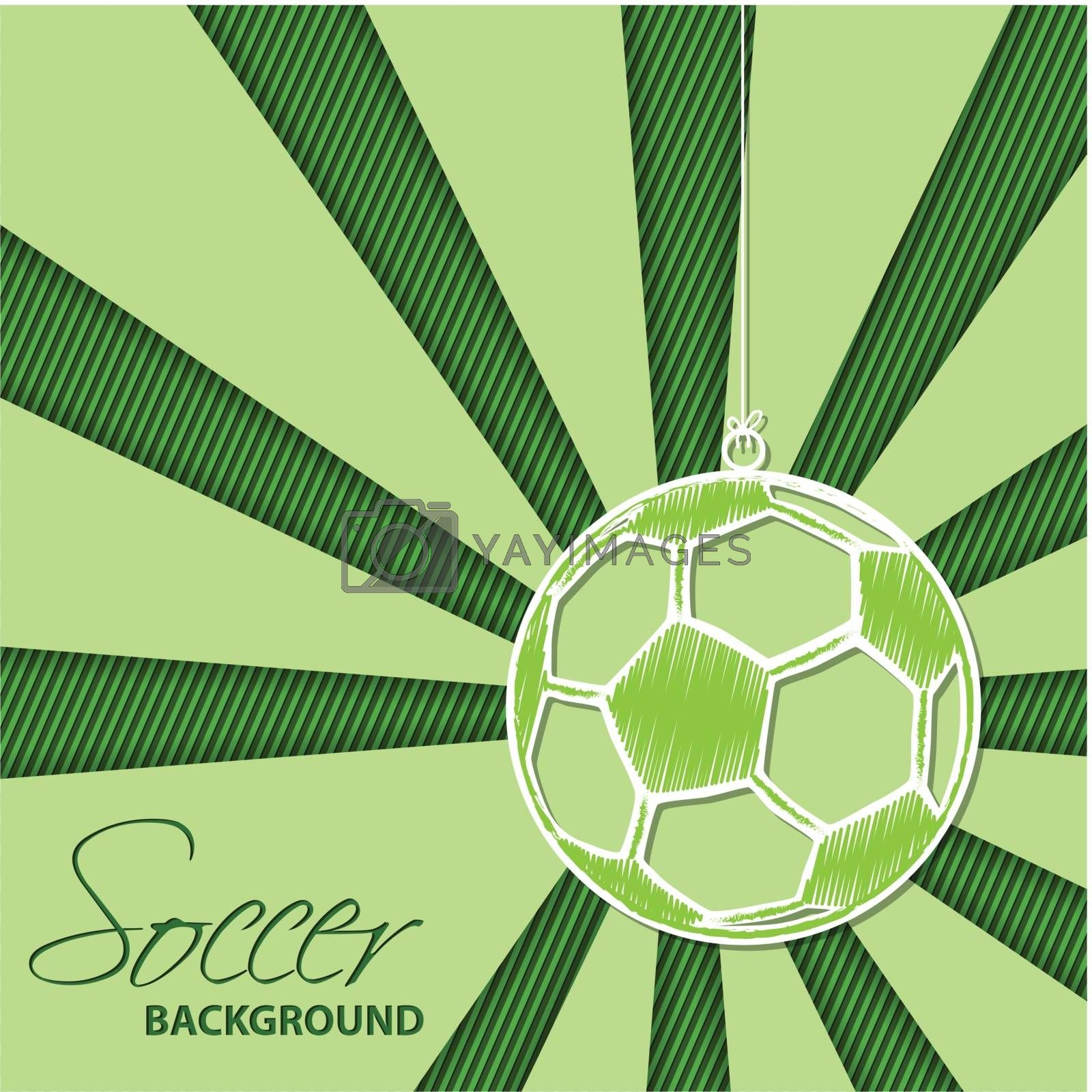 Royalty free image of Soccer background with hanging ball label by vipervxw