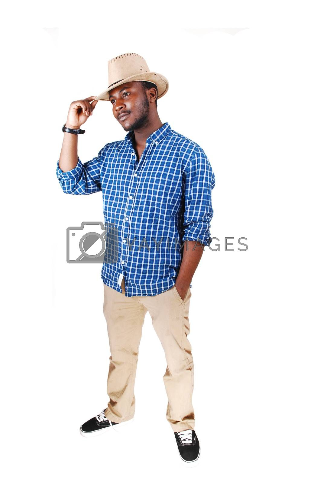 Royalty free image of Black man lifting his hat. by feierabend