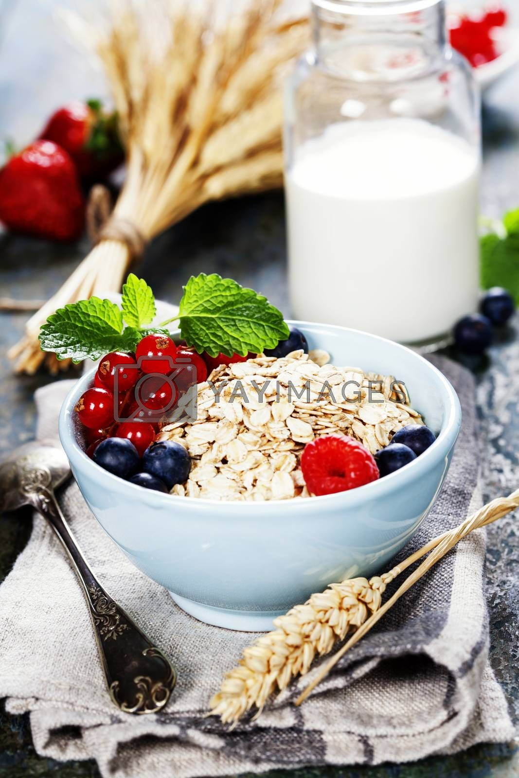 Royalty free image of Breakfast with oats and berries by klenova