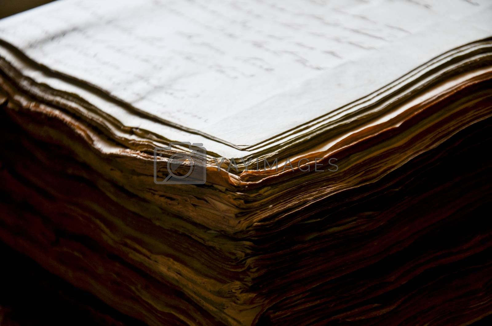 ancient books close up