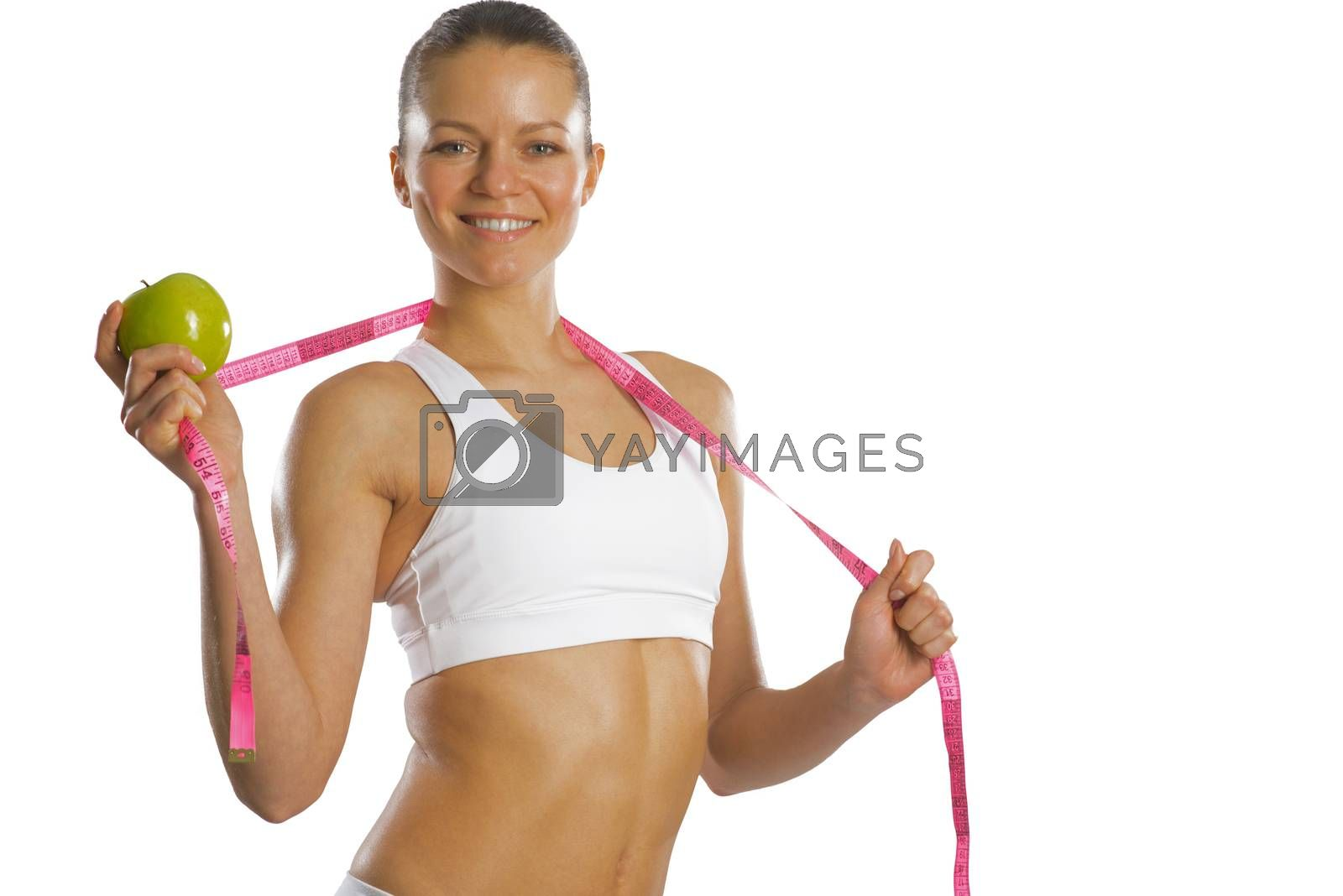 Royalty free image of young attractive woman with measuring tape by adam121
