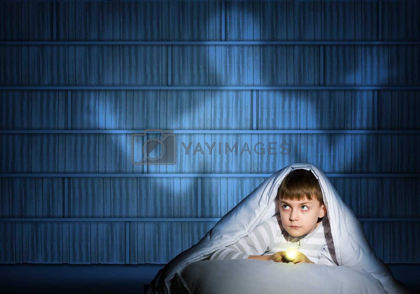 Royalty free image of boy under the covers with a flashlight by adam121