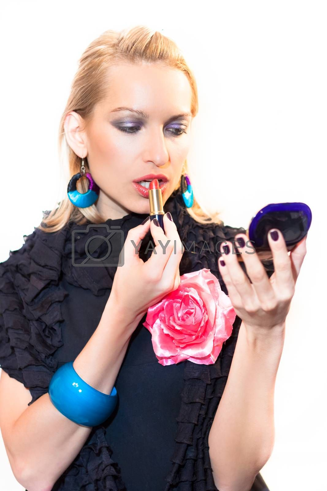 Royalty free image of Beautiful lady with a lipstik. by kasto