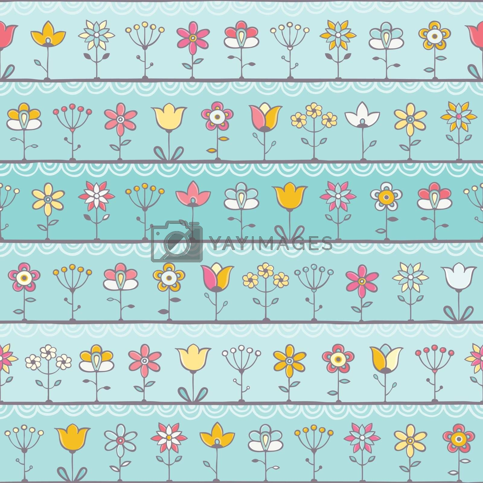 Royalty free image of Baby blue background with cute flowers by evdakovka