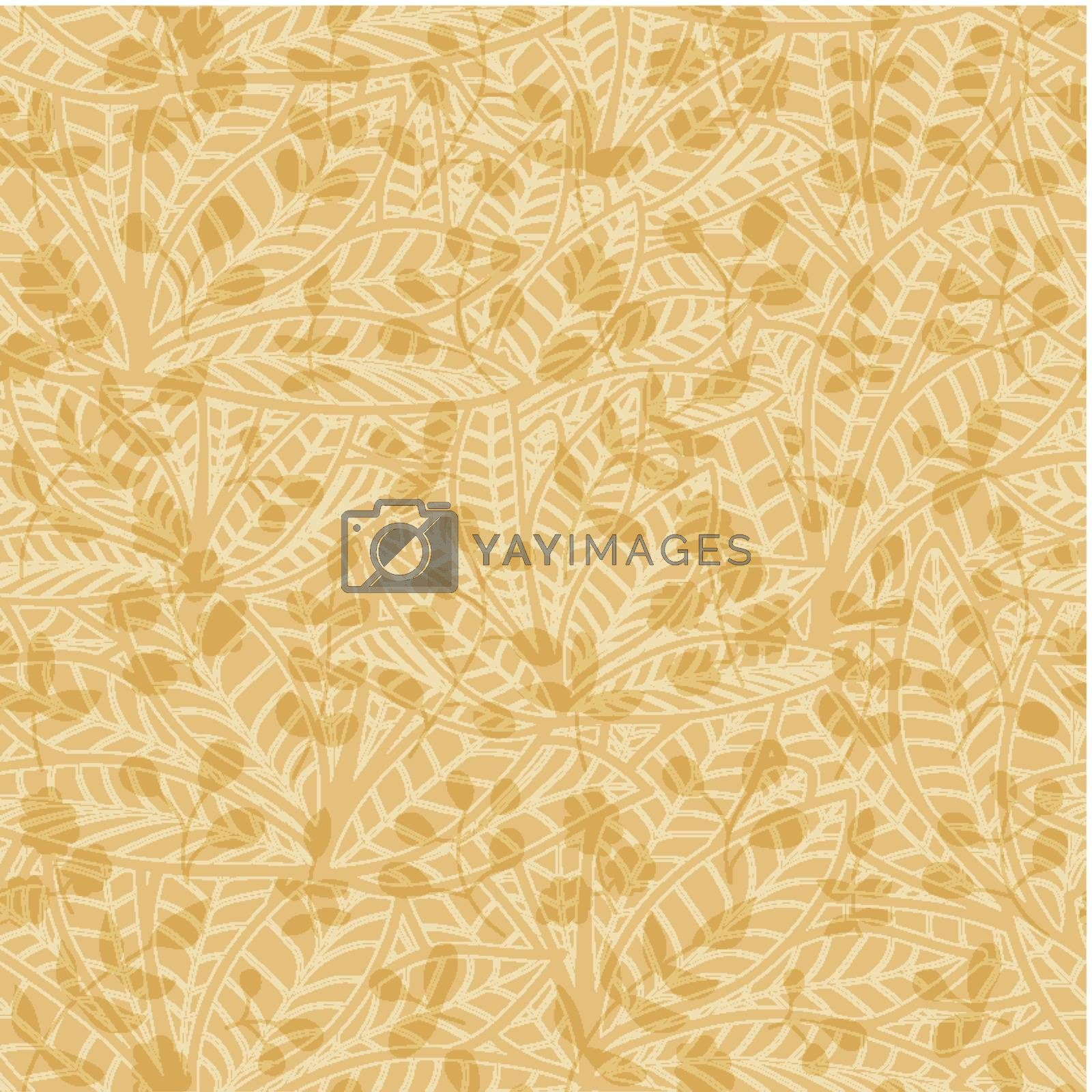 neutral floral wallpaper. plant swirls and curves by LittleCuckoo