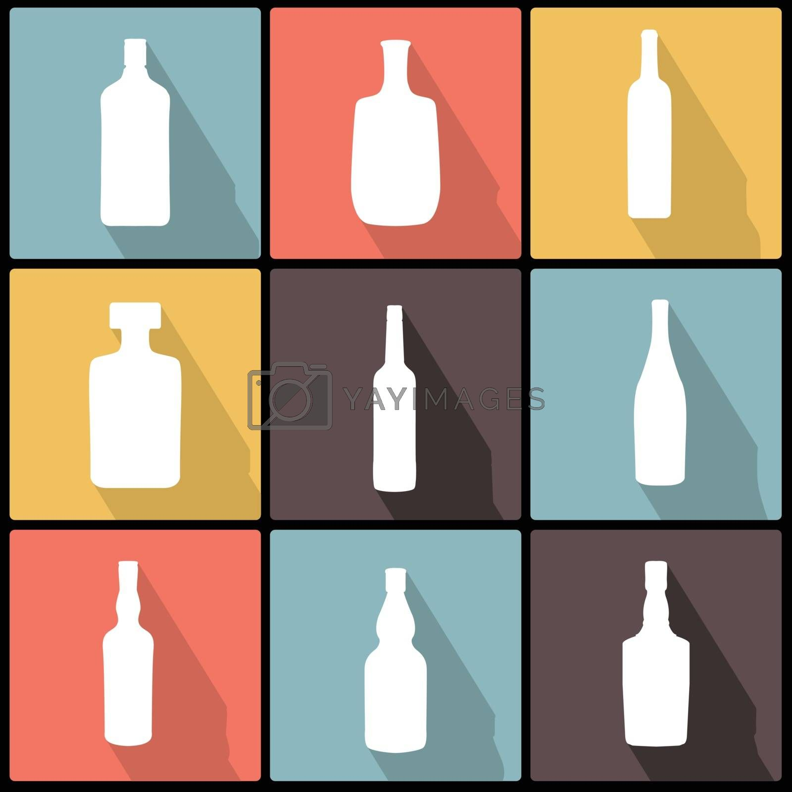 Royalty free image of Bottle Icons in Flat Design for Web and Mobile by LittleCuckoo