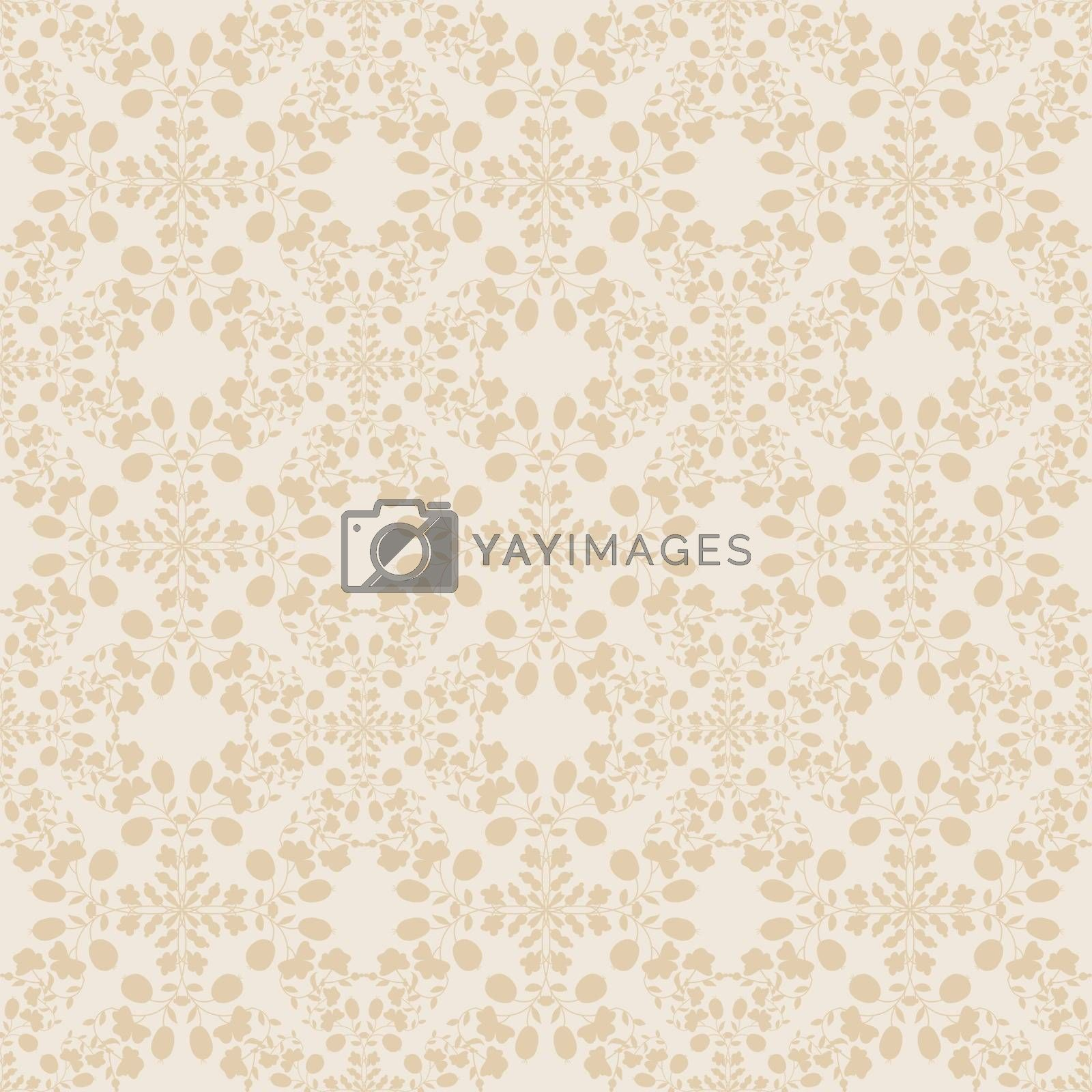 Royalty free image of neutral floral wallpaper. plant swirls and curves by LittleCuckoo