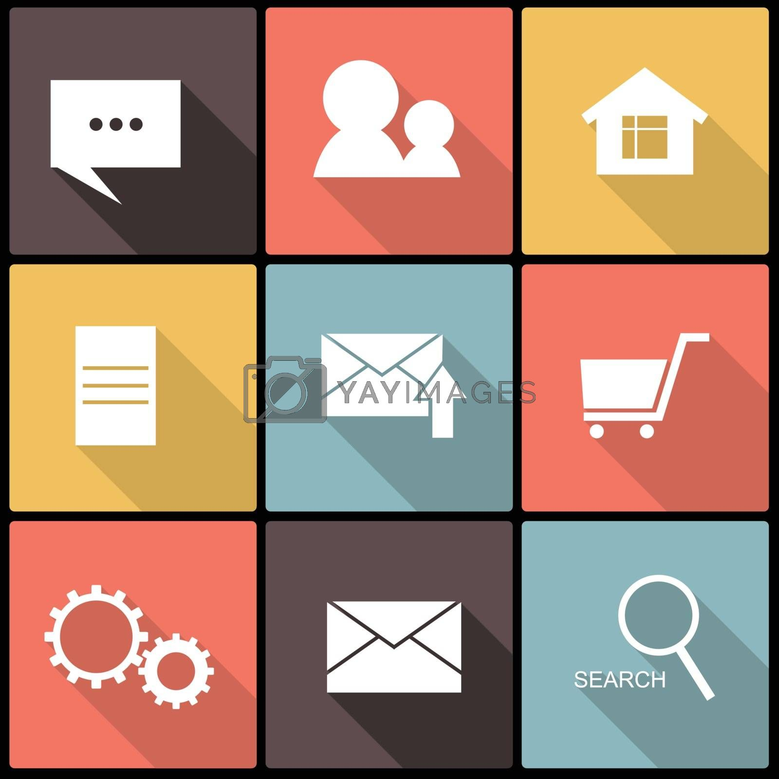 Royalty free image of web icons in Flat Design for Web and Mobile by LittleCuckoo