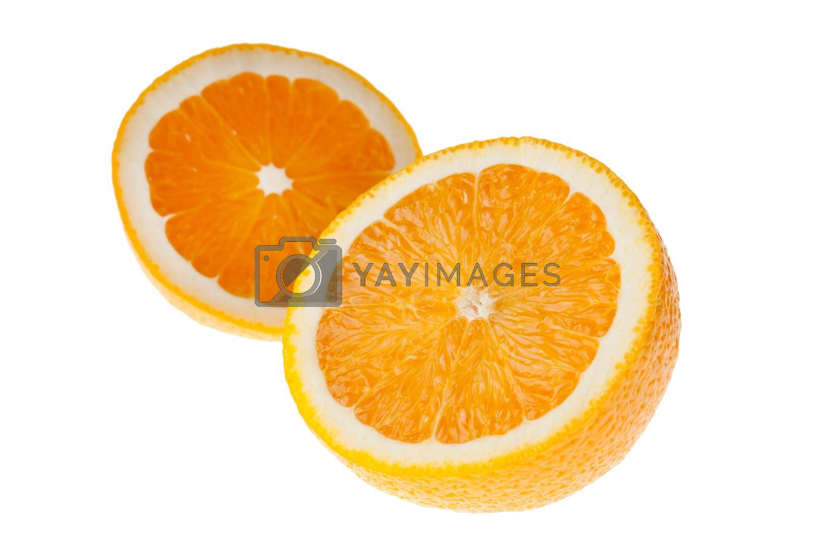 Royalty free image of Two halves of orange by Mekfoto