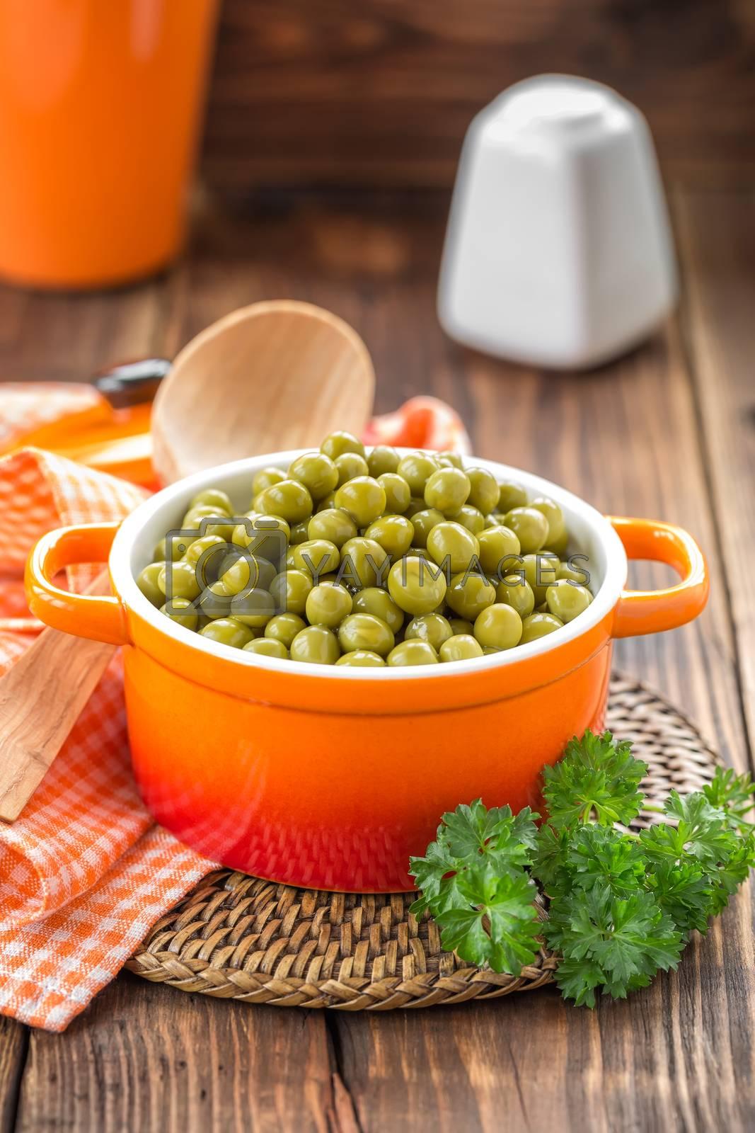 Royalty free image of Canned peas by yelenayemchuk
