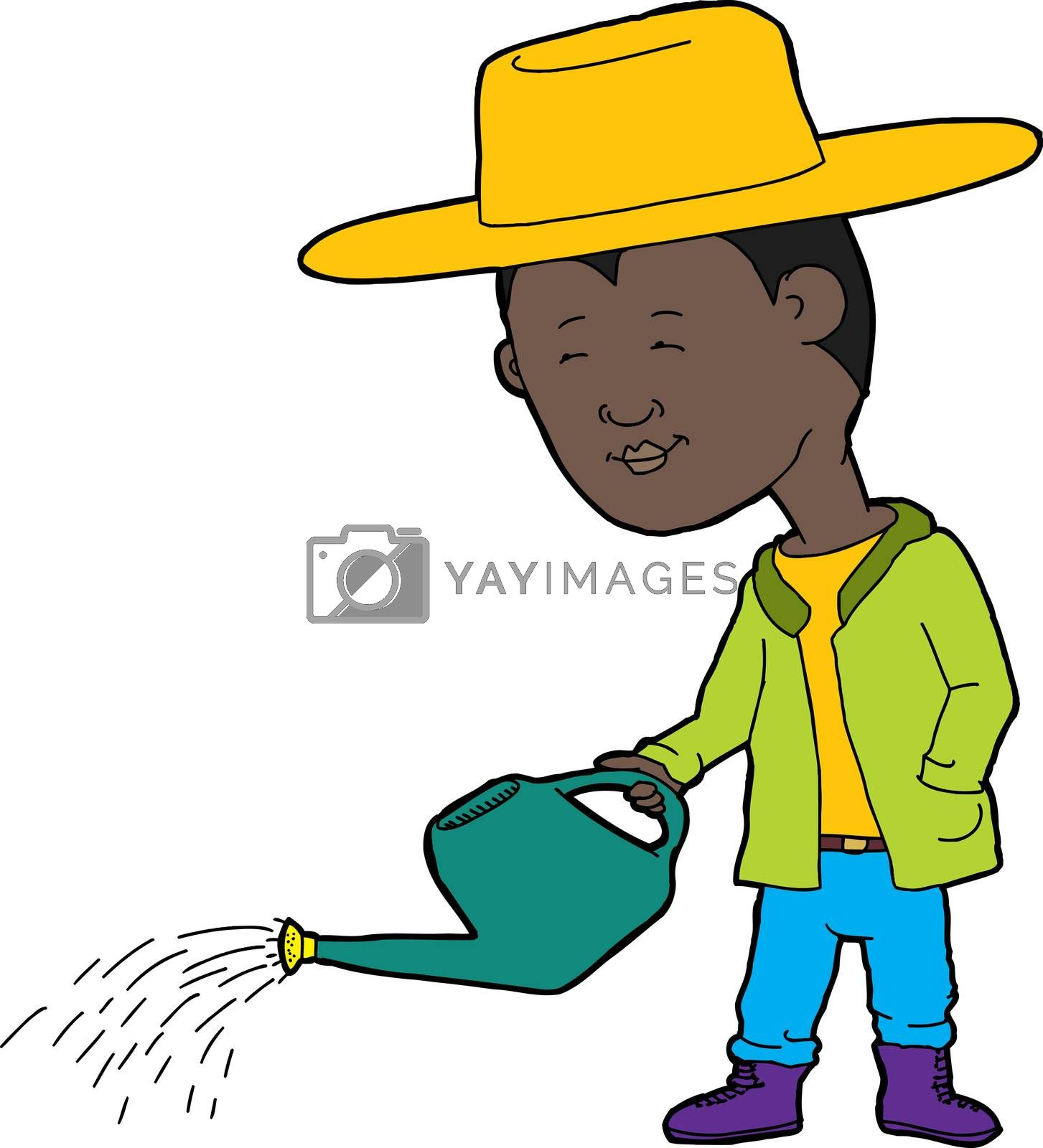 Royalty free image of Gardener with Watering Can by TheBlackRhino