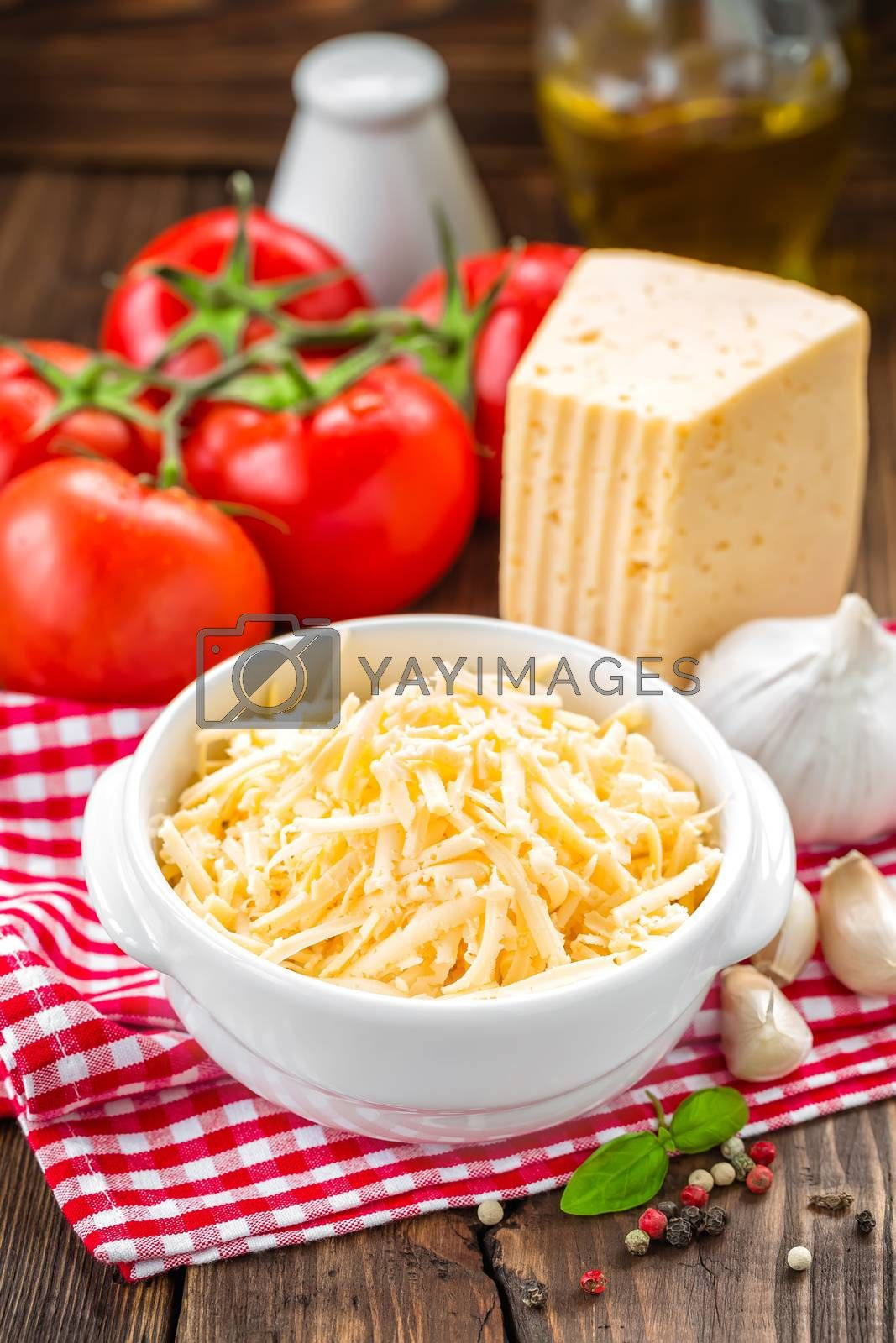 Royalty free image of Grated cheese by yelenayemchuk