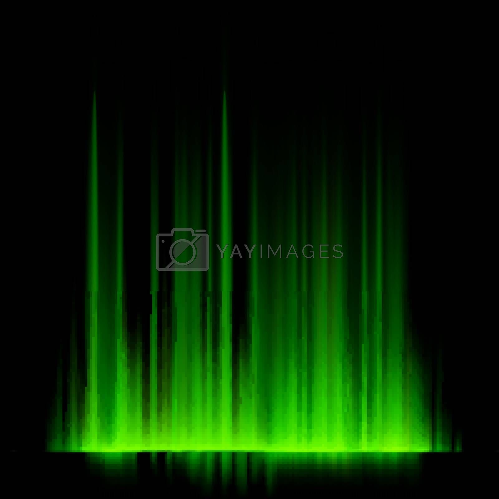 Green northern lights, aurora borealis. EPS 10 vector file included