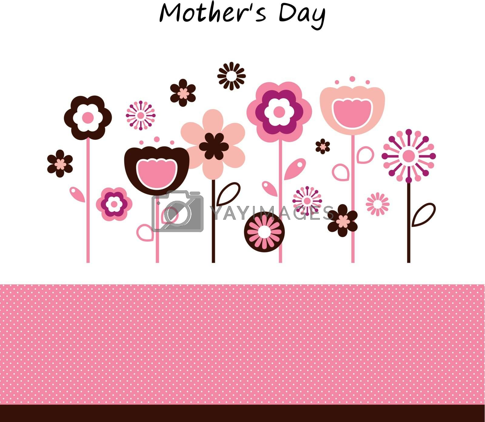 Pink flowers for Mother's Day isolated on white. Vector Illustration