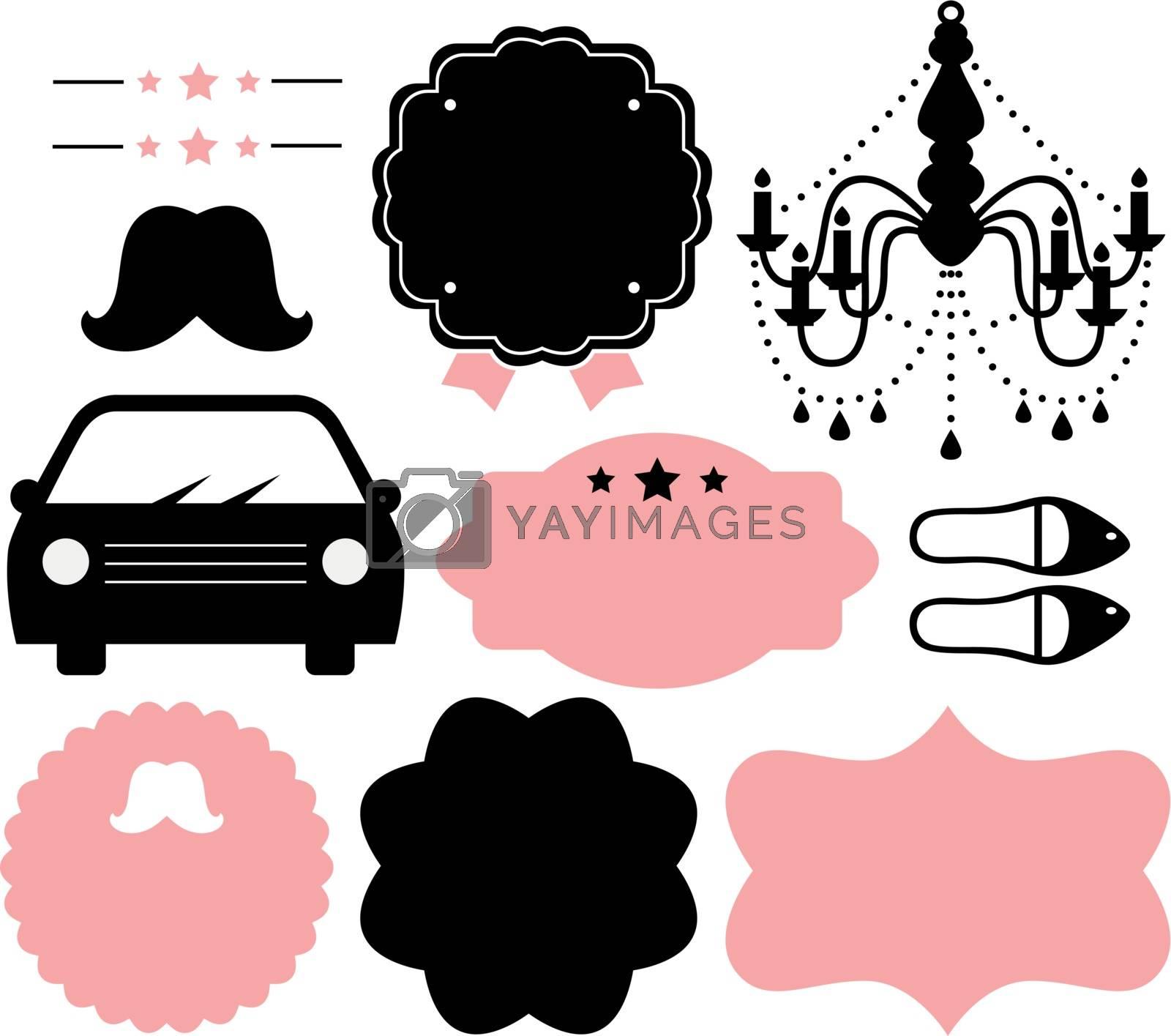 Set of vintage design elements. Vector Illustration