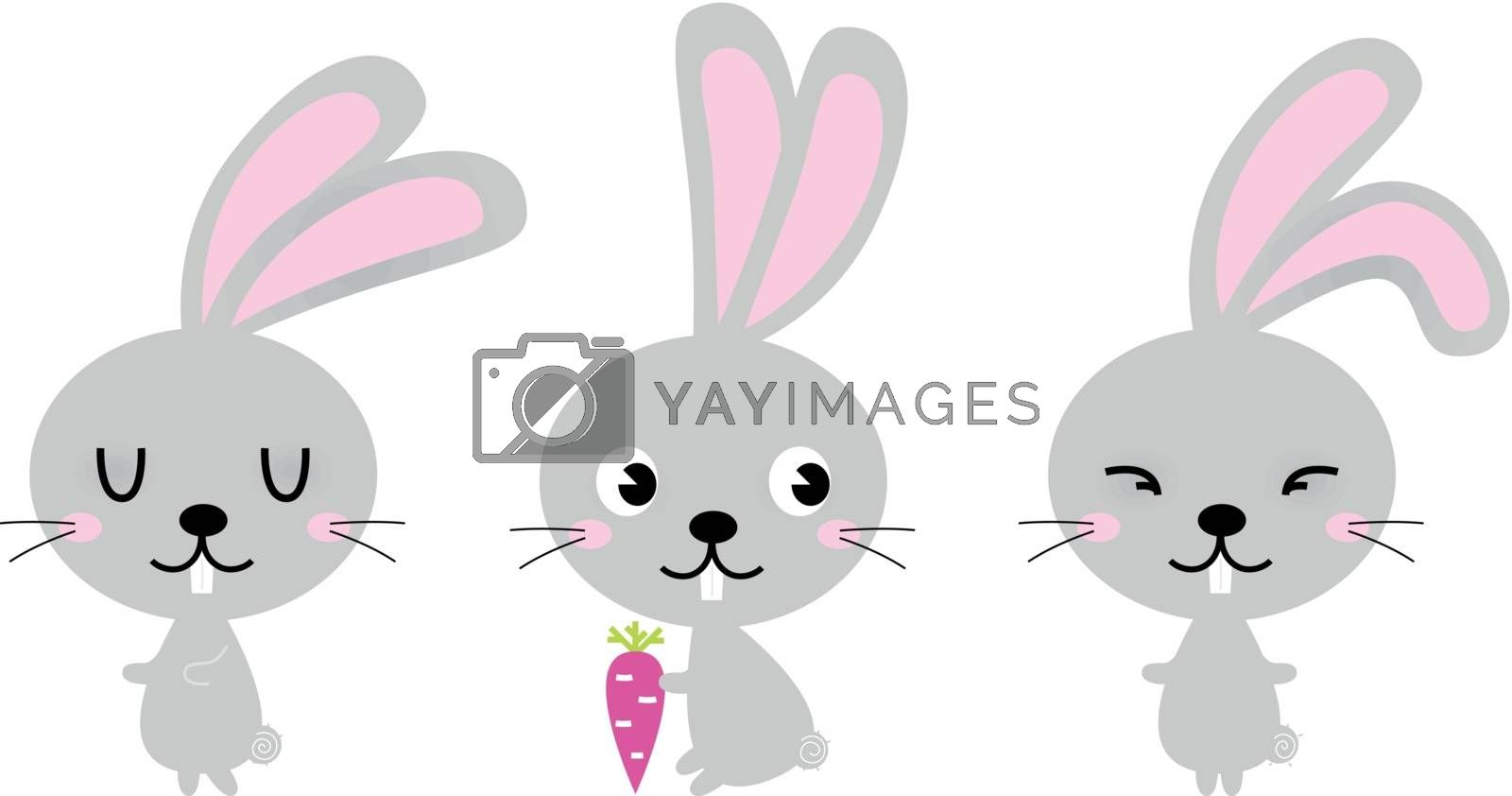Group of Easter Bunnies in various poses. Vector Illustration
