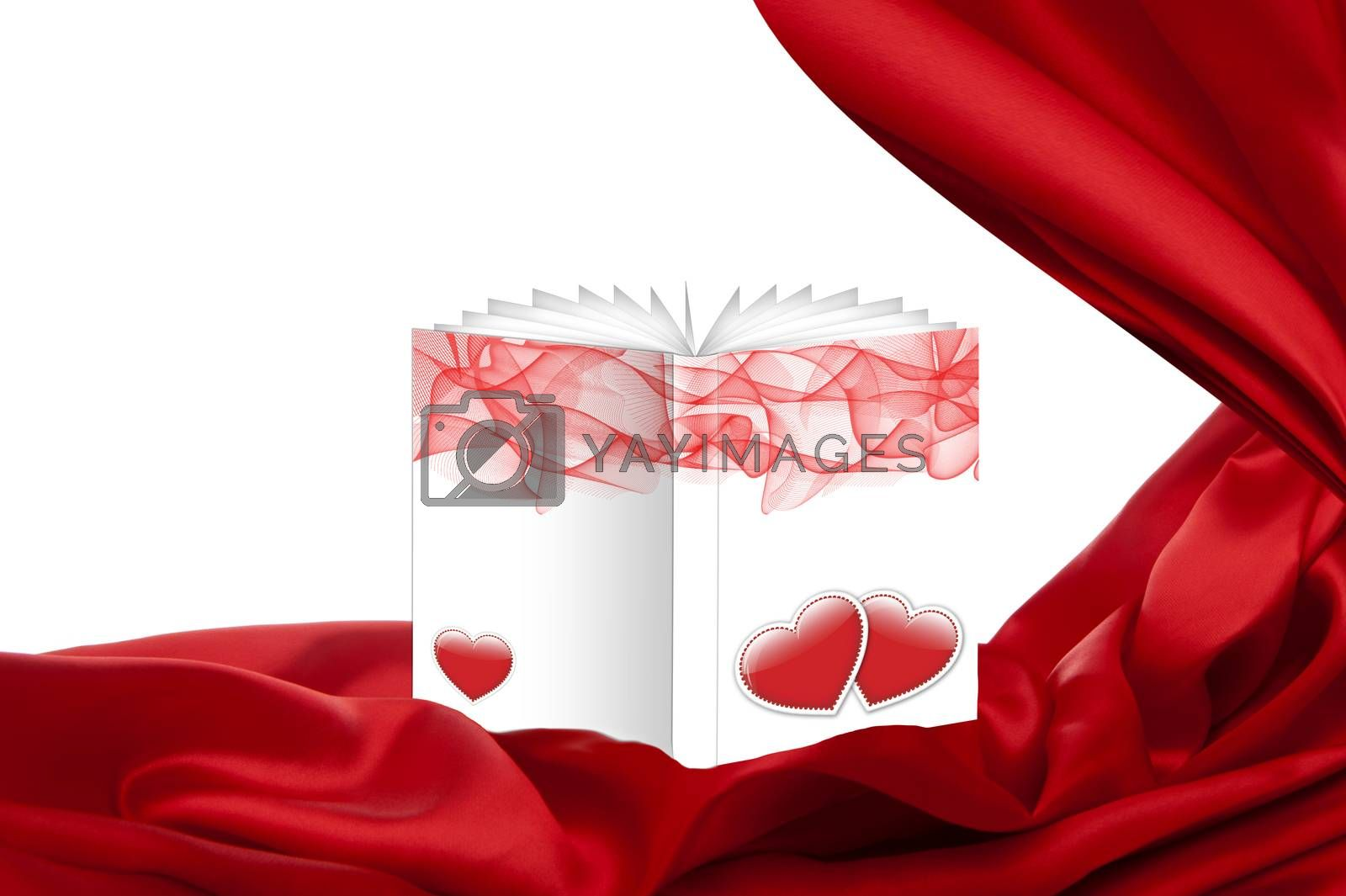 ticket for mother day with book and fabric on white backround