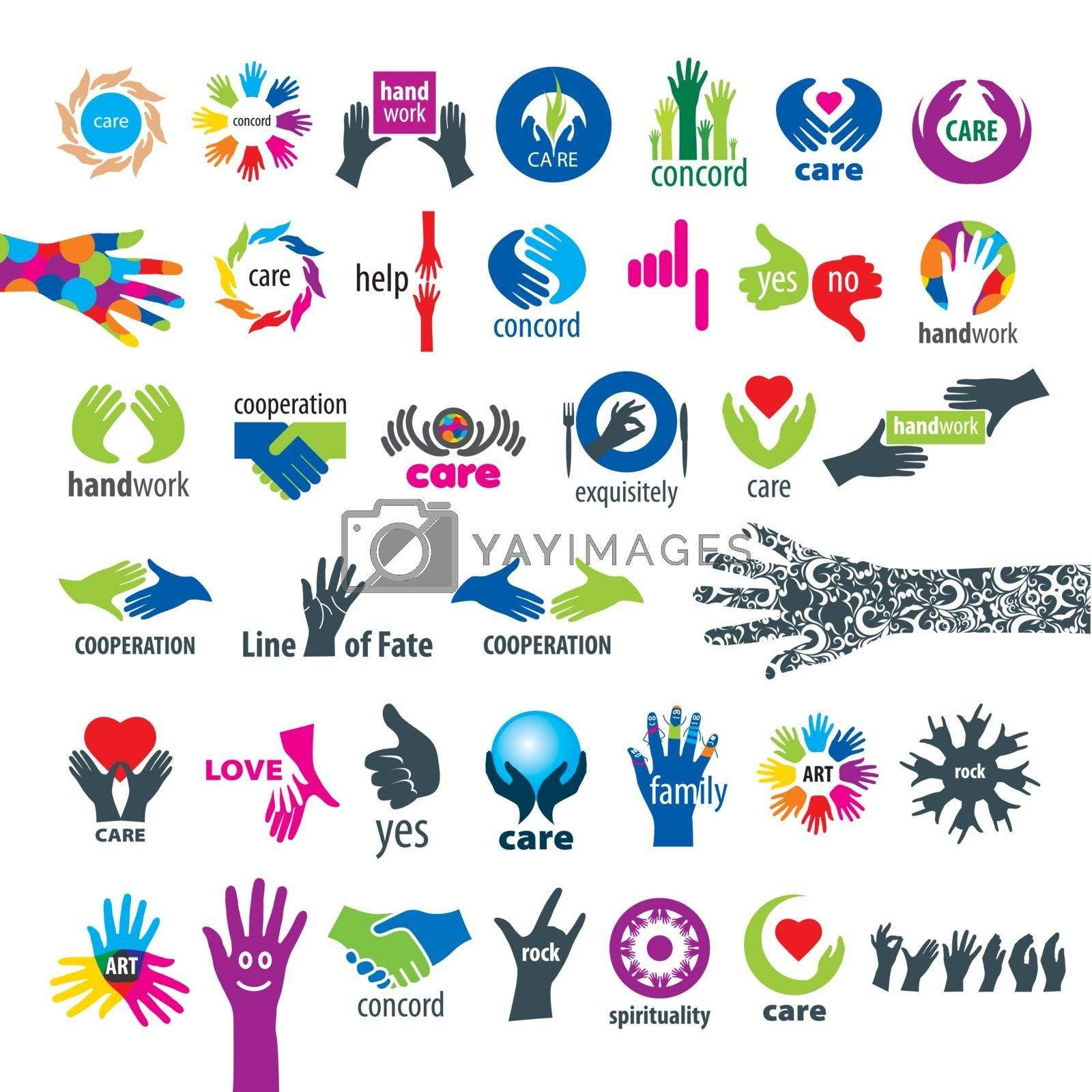 biggest collection of vector logos hands  by Butenkov