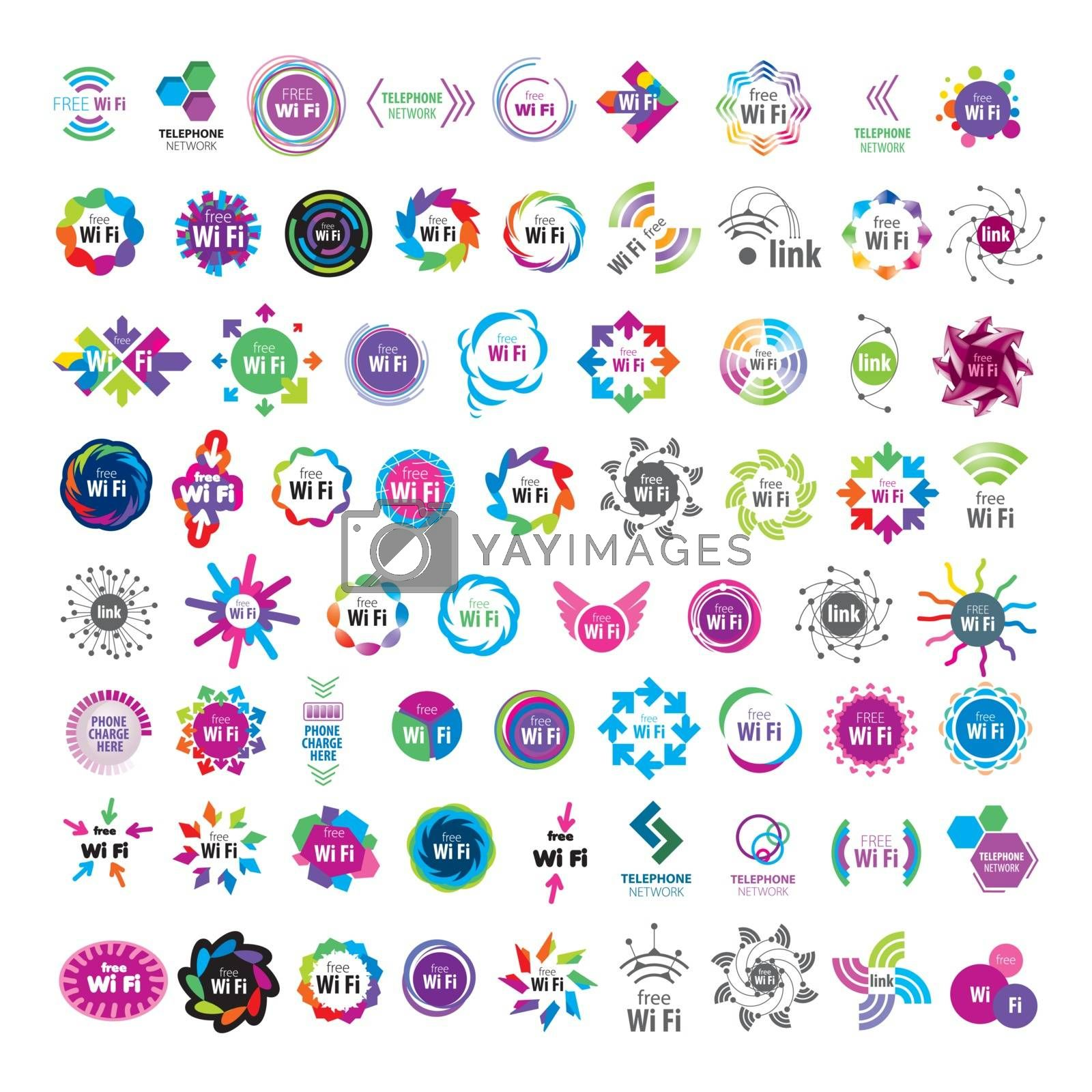 Biggest collection of vector logos Wifi connection by butenkow