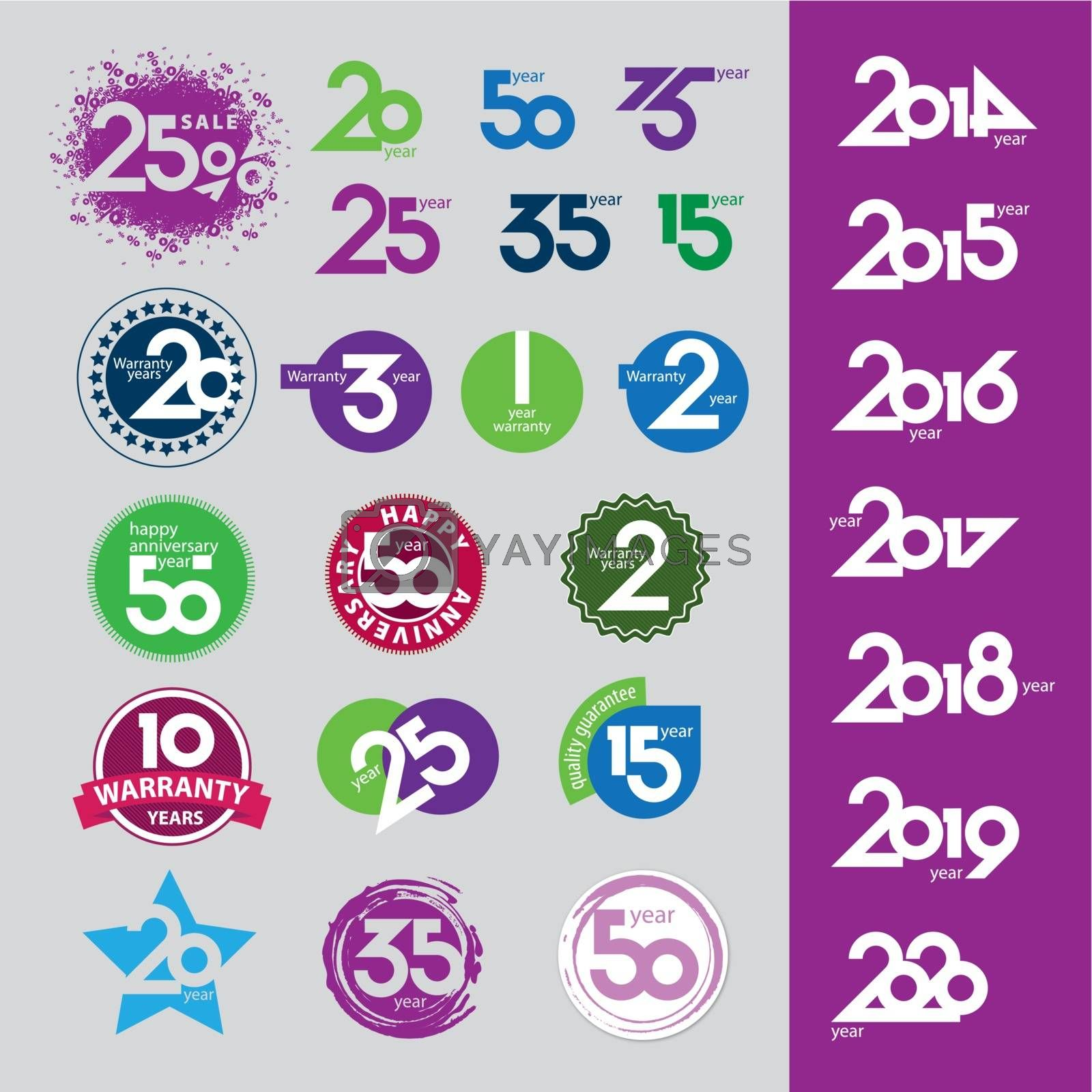 collection of vector icons with numbers dates anniversaries by Butenkov