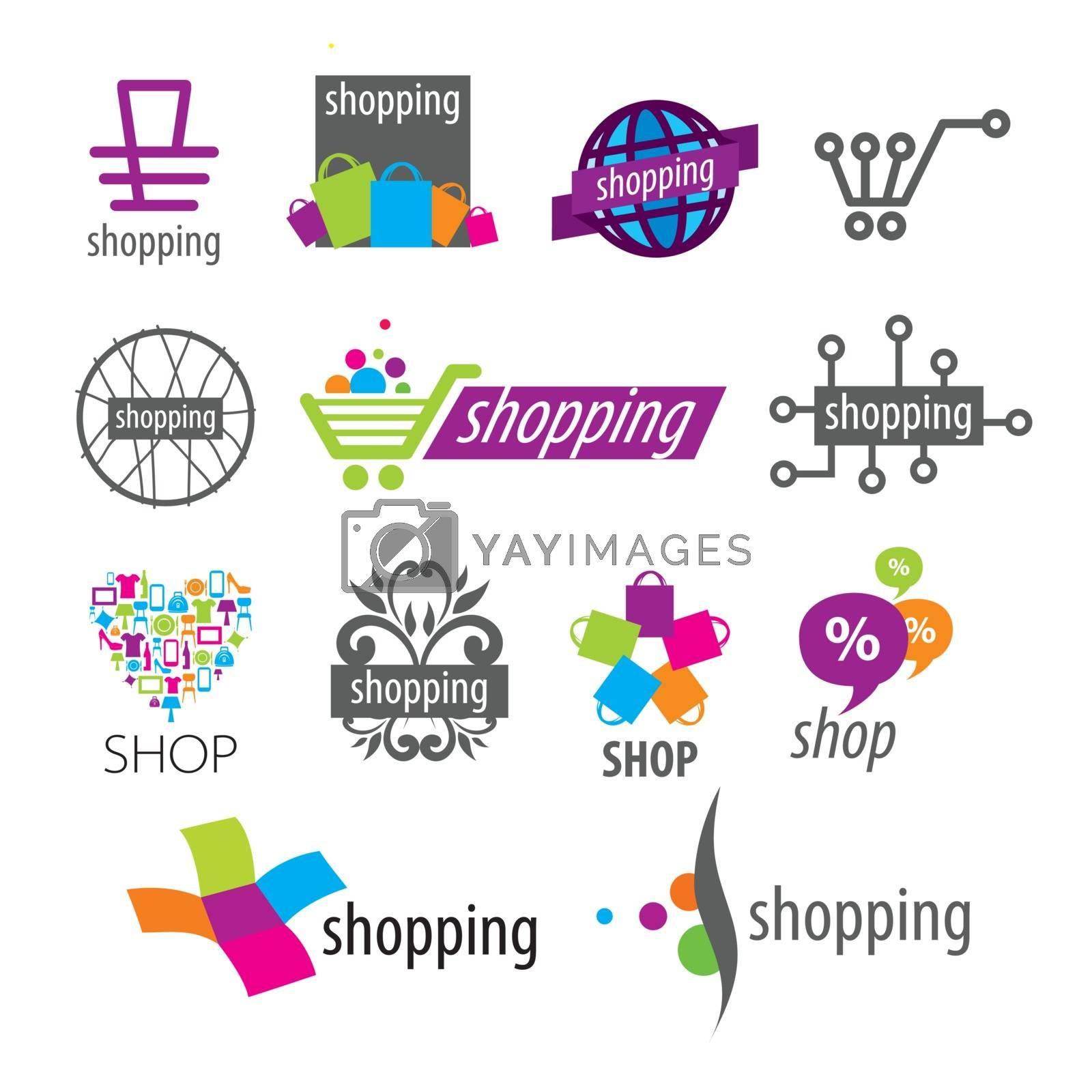 collection of vector logos shopping discounts and stores by Butenkov