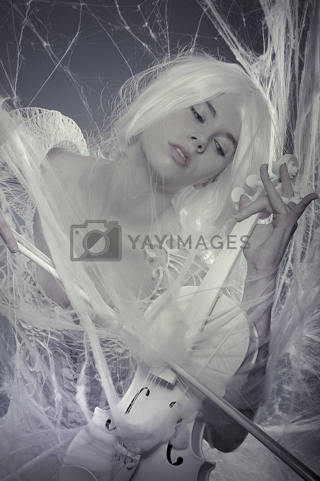Fashion beautiful woman trapped in a spider web with a white violin, lace dress
