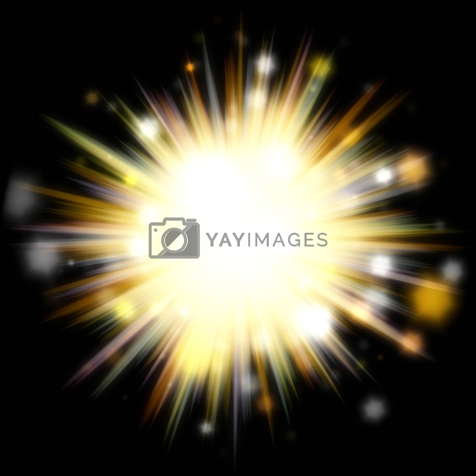 A bright exploding burst over a black background.