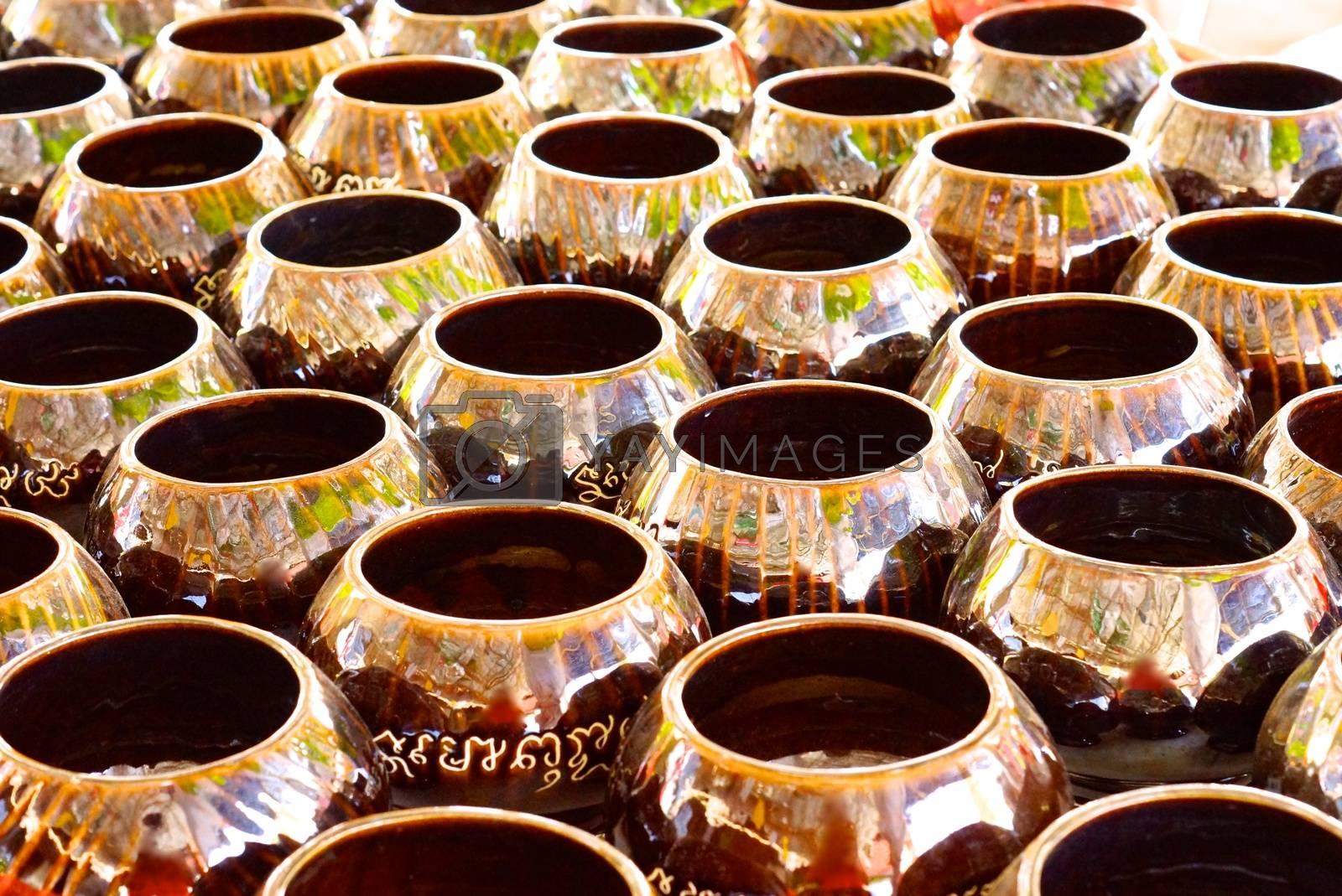 hundred of ceramic bowels,shallow focus