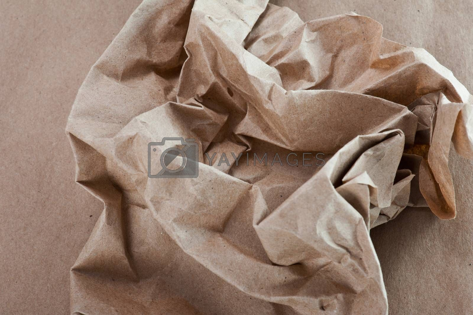 Shabby, crumpled craft paper background texture
