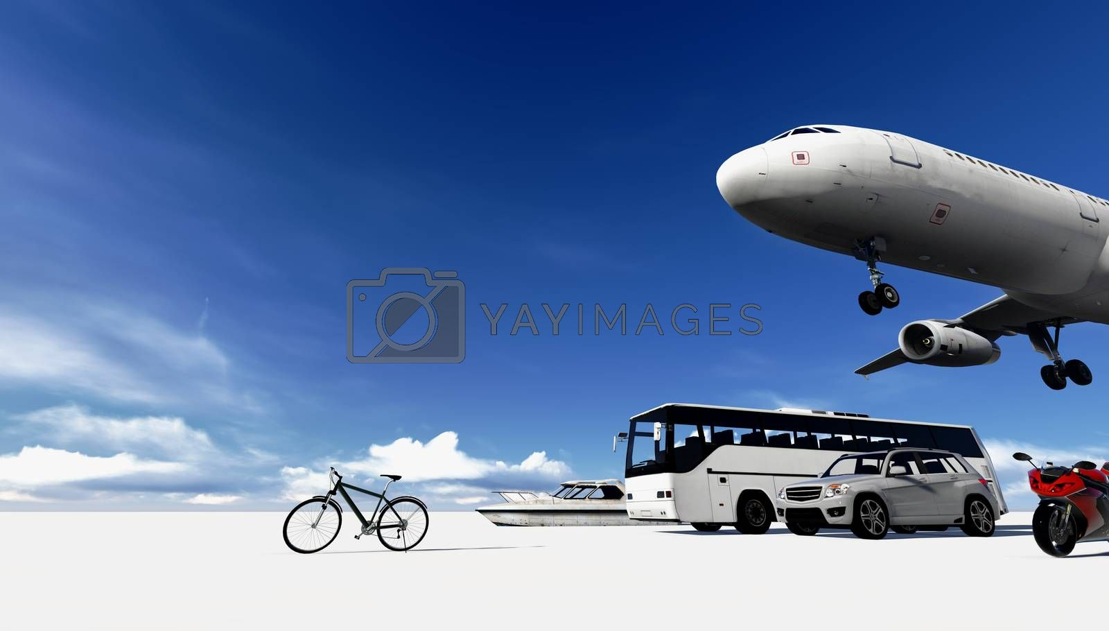 transportation of vehicle and the travel with blue sky.
