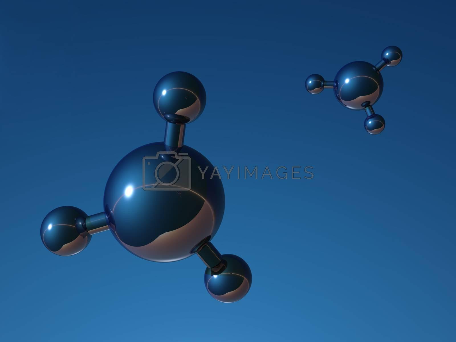 abstract molecule model on blue background - 3d illustration