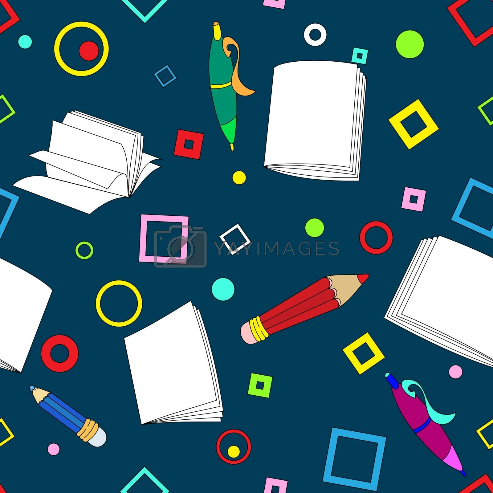 School notes seamless pattern on dark blue background. Tools for drawing. Cartoon color background.