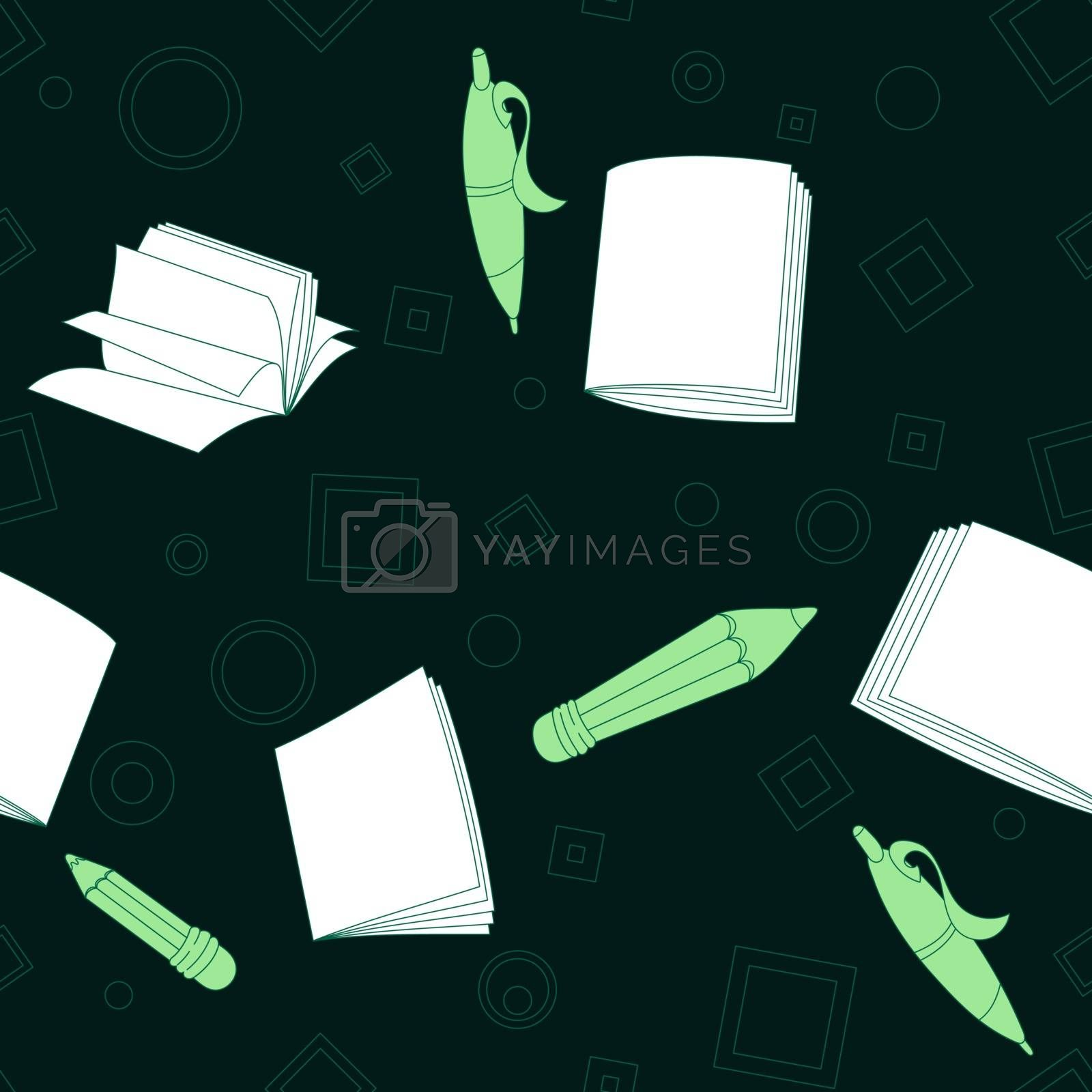 School notes seamless pattern on dark green background. Tools for drawing. Cartoon color background.