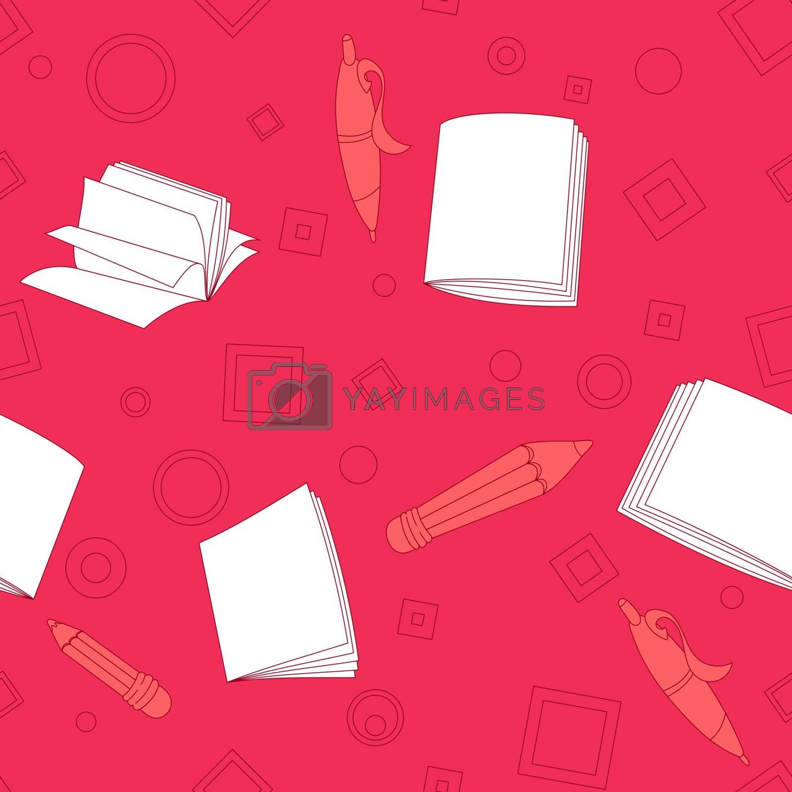 School notes seamless pattern on pink background. Tools for drawing. Cartoon color background.