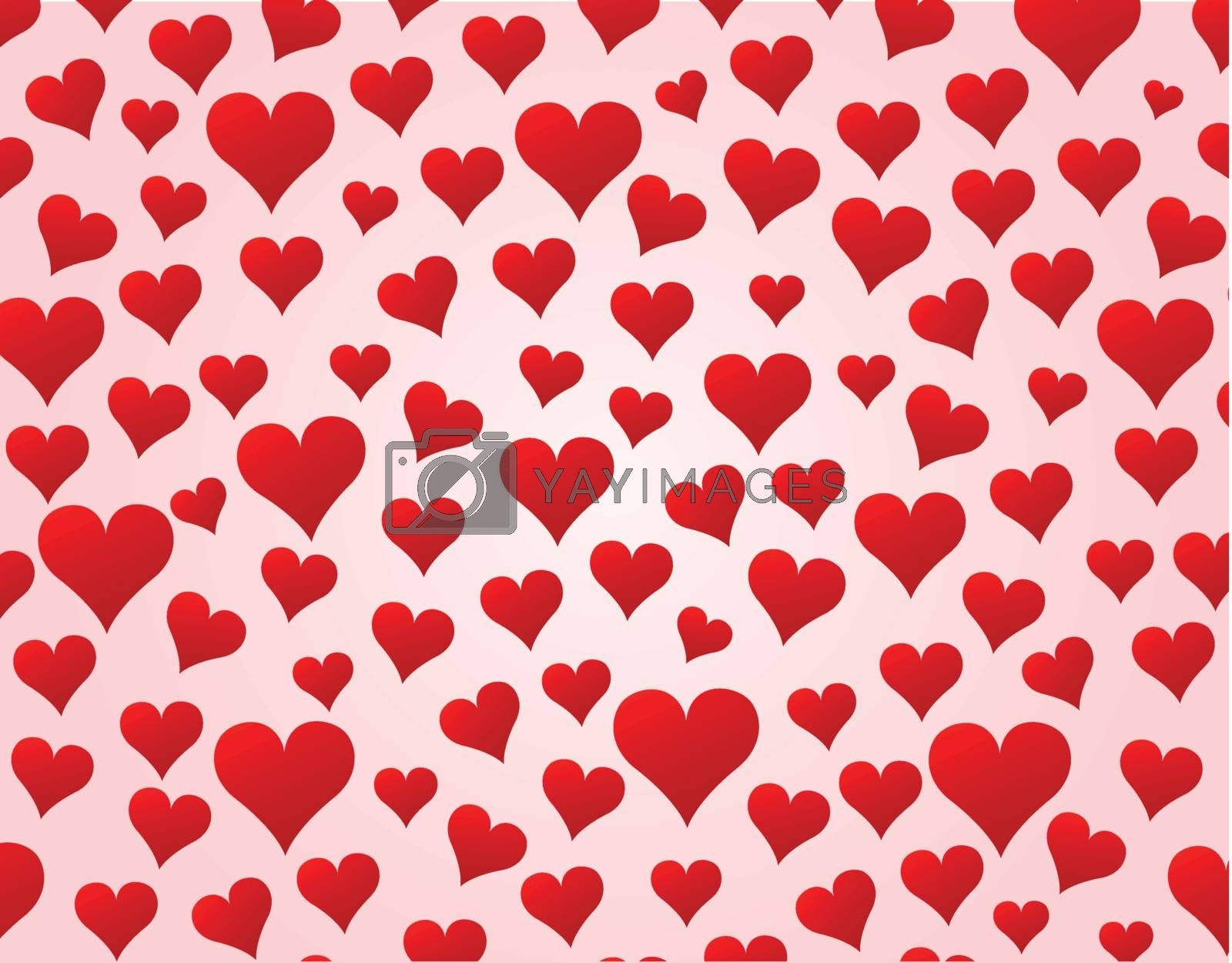 Vector illustration of small hearts background for love concept