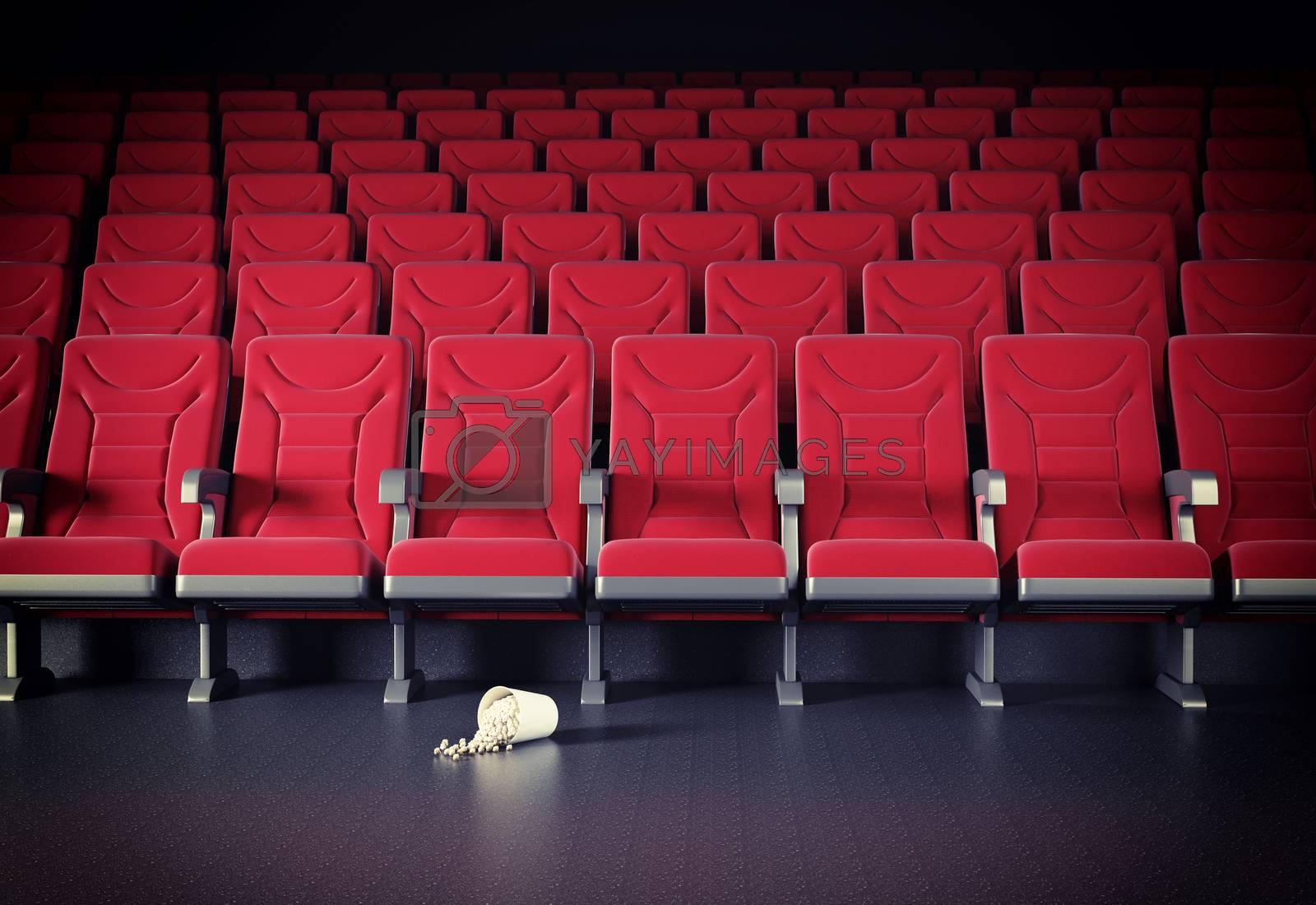 cinema interior and popcorn on the floor. cretive concept
