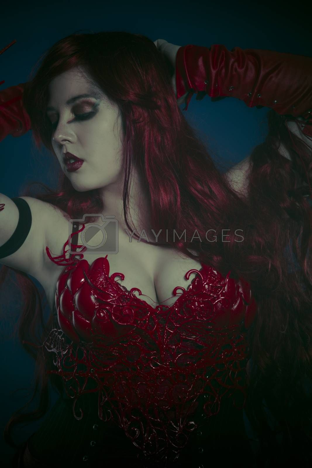 Red armor, sensual girl with dragon style fashion costume