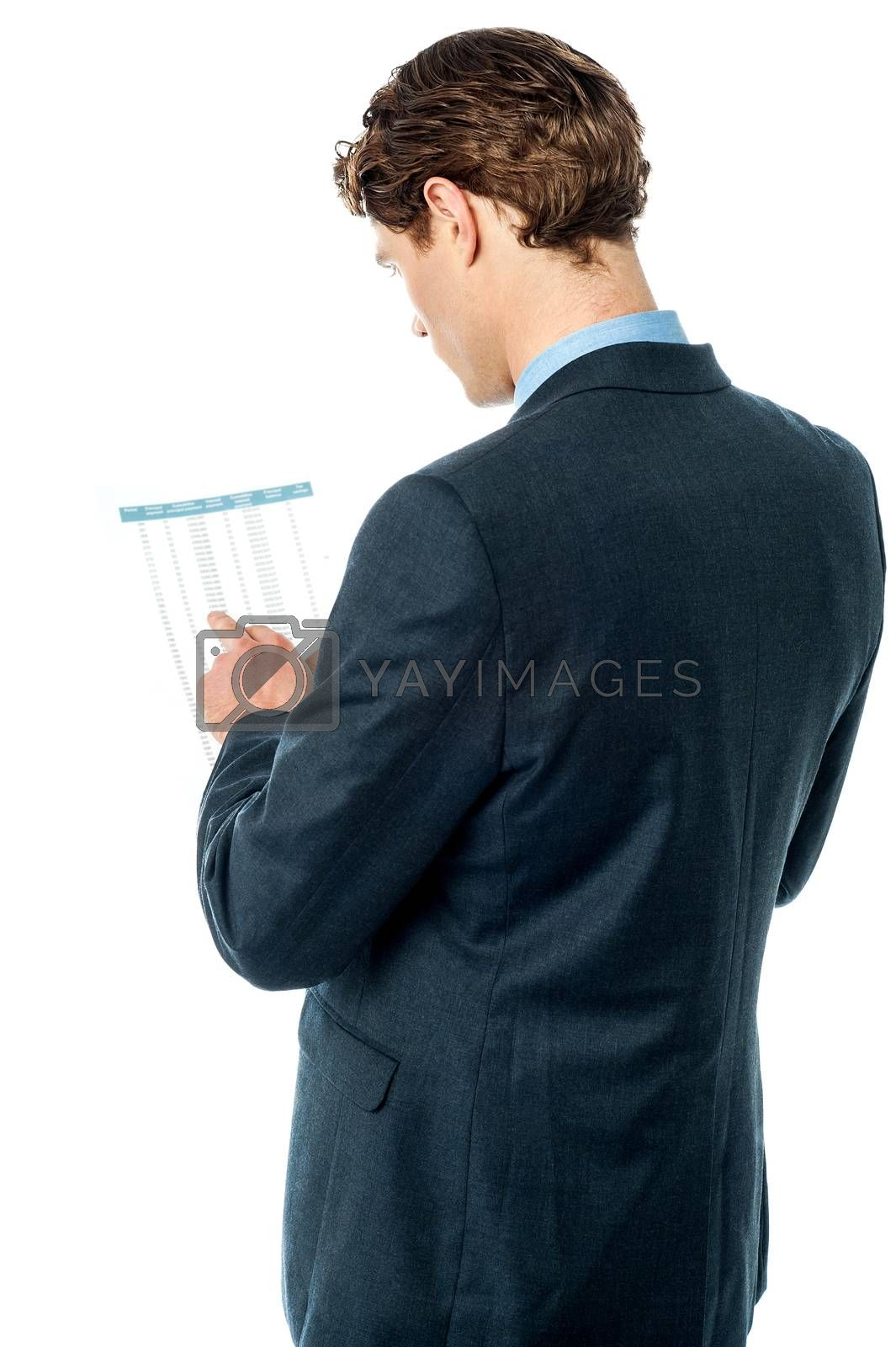 Rear view of businessman analyzing annual report