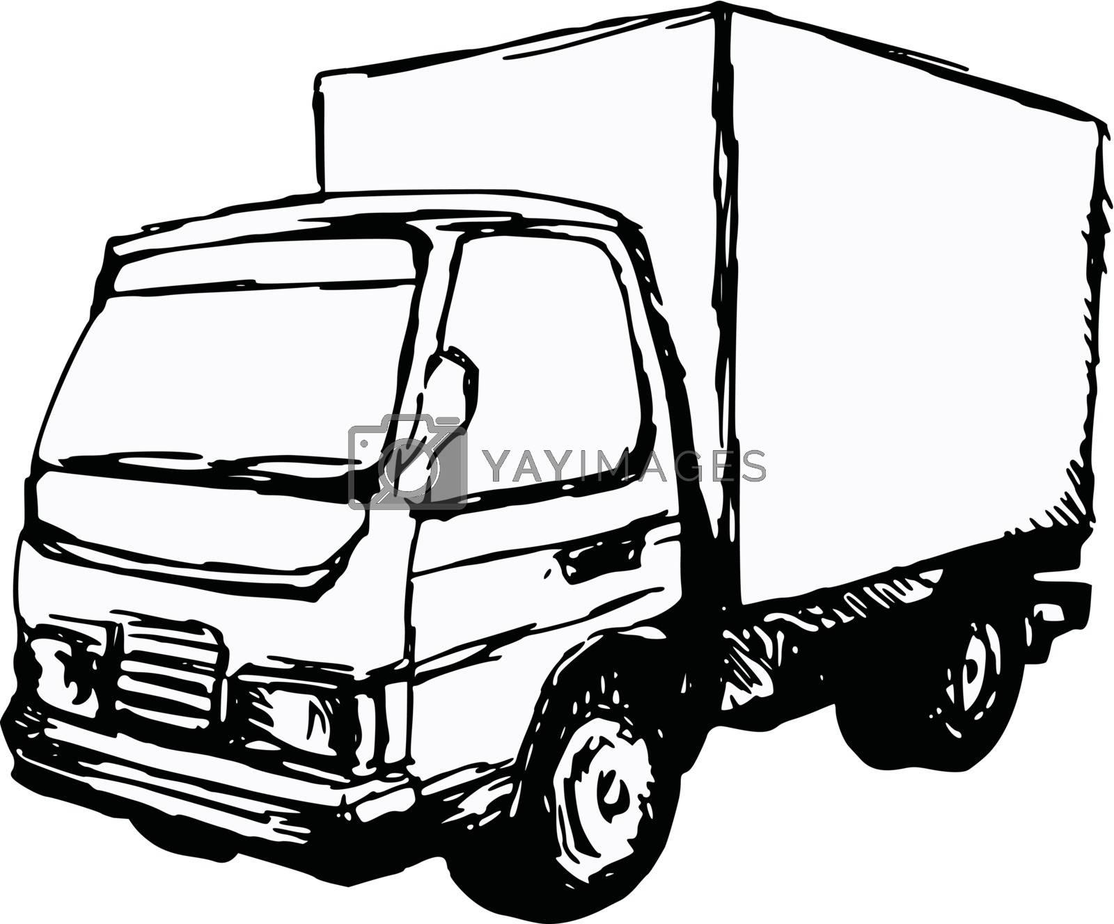 hand drawn, cartoon, sketch illustration of small truck