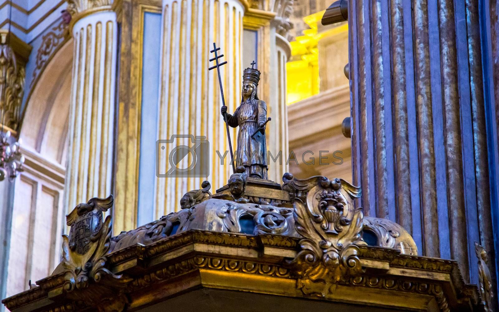 Near the alter in Malaga Cathedral.