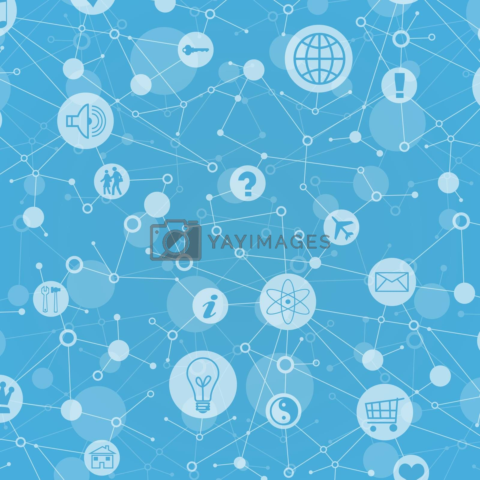 Social network. In lattice sites are various icons by cherezoff