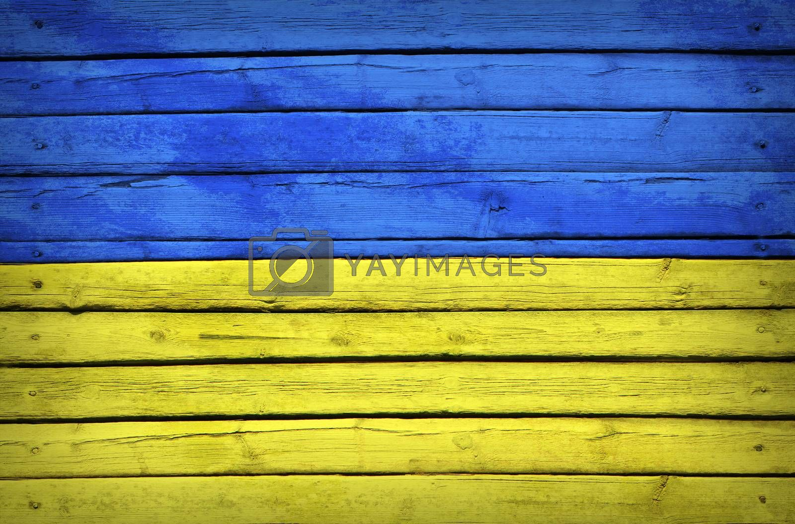 Ukrainian flag painted on wooden boards by cherezoff
