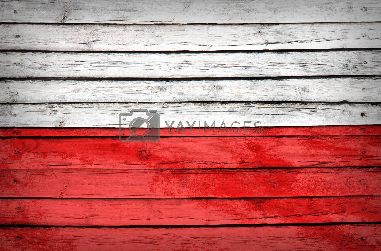 Poland flag painted on wooden boards by cherezoff