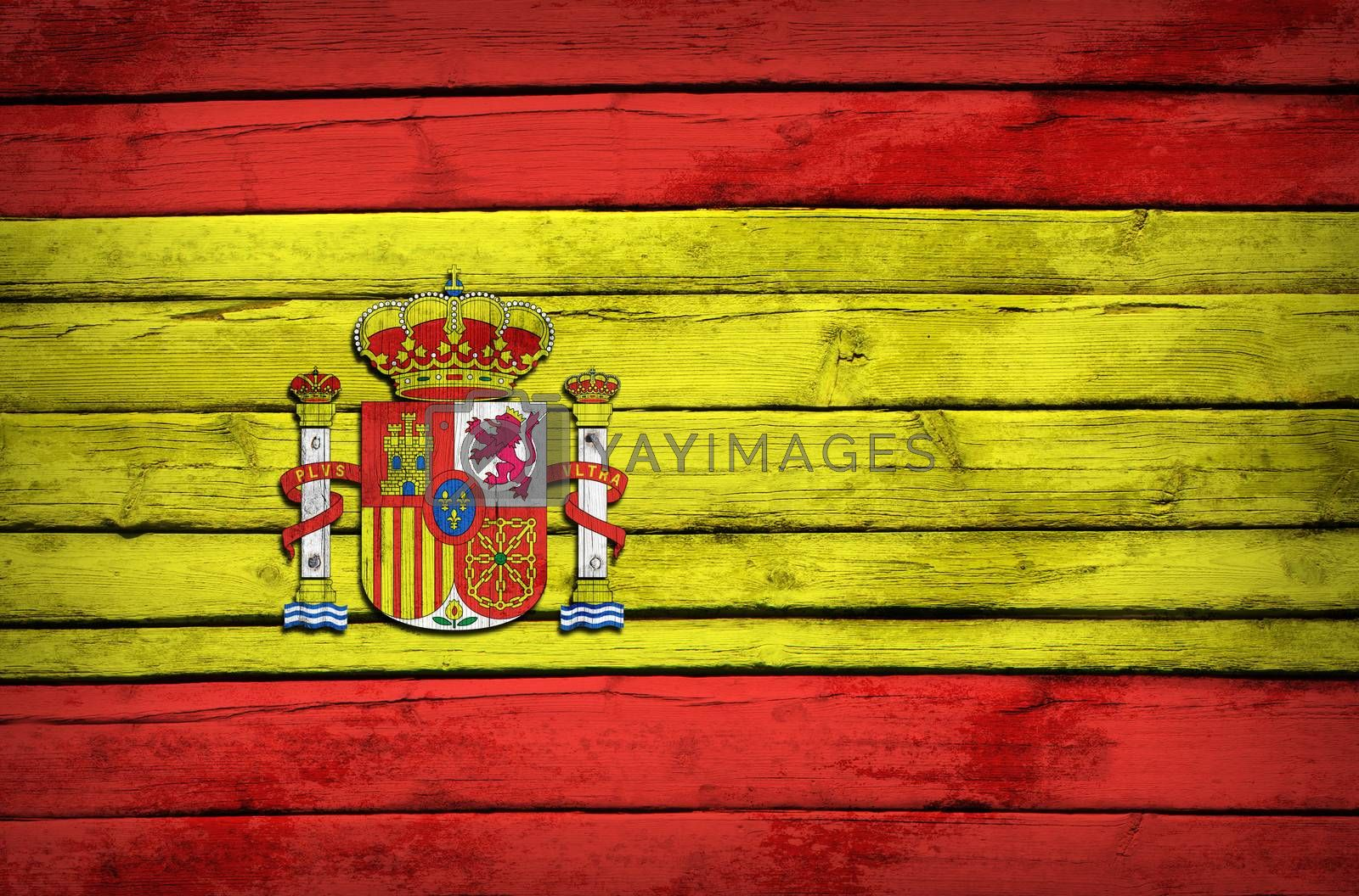 Spanish flag painted on wooden boards by cherezoff