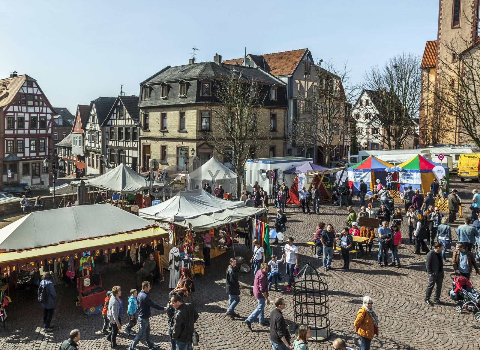 GELNHAUSEN, GERMANY - MARCH 9. people enjoy the 24th Barbarossamarkt festival on March 9, 2014 in Gelnhausen, Germany. The annual event lasts 4 days and takes place all over the city.