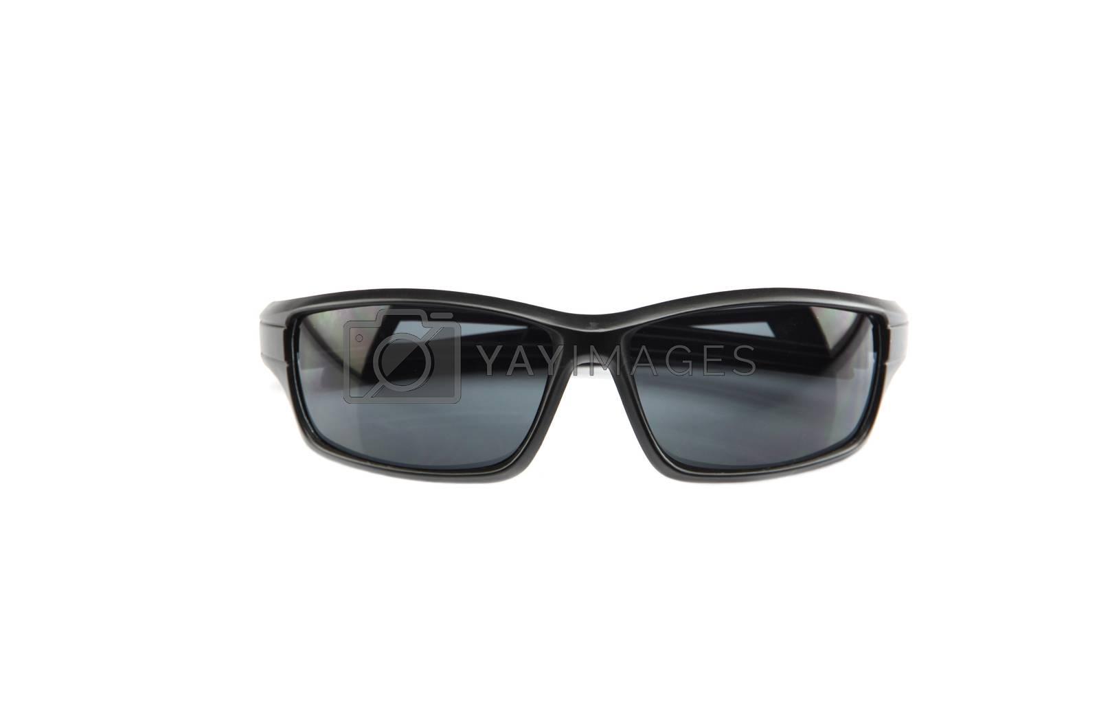 closeup black sunglasses isolated. by PiyaPhoto