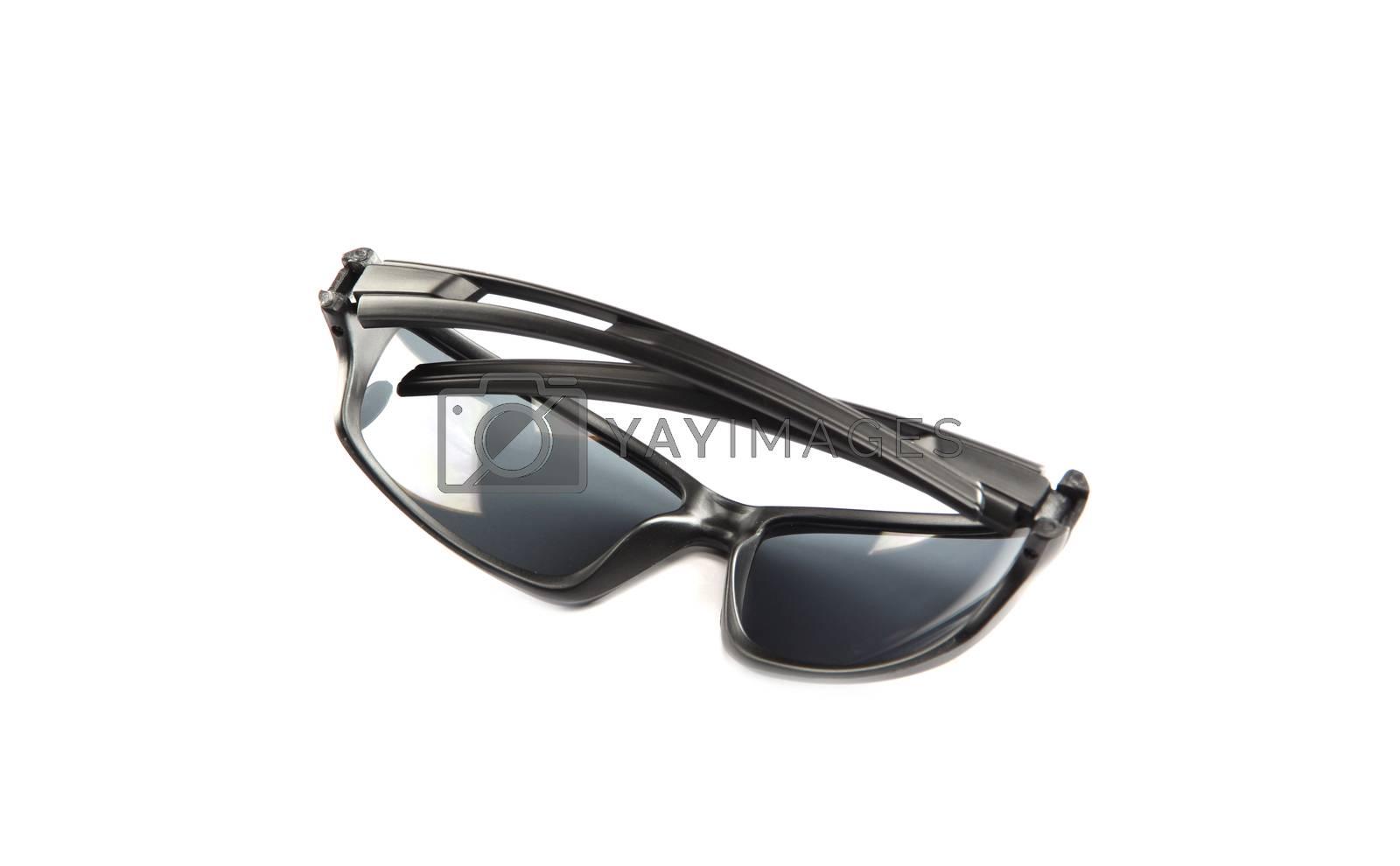 closeup black sunglasses isolated. by meepoohyaphoto