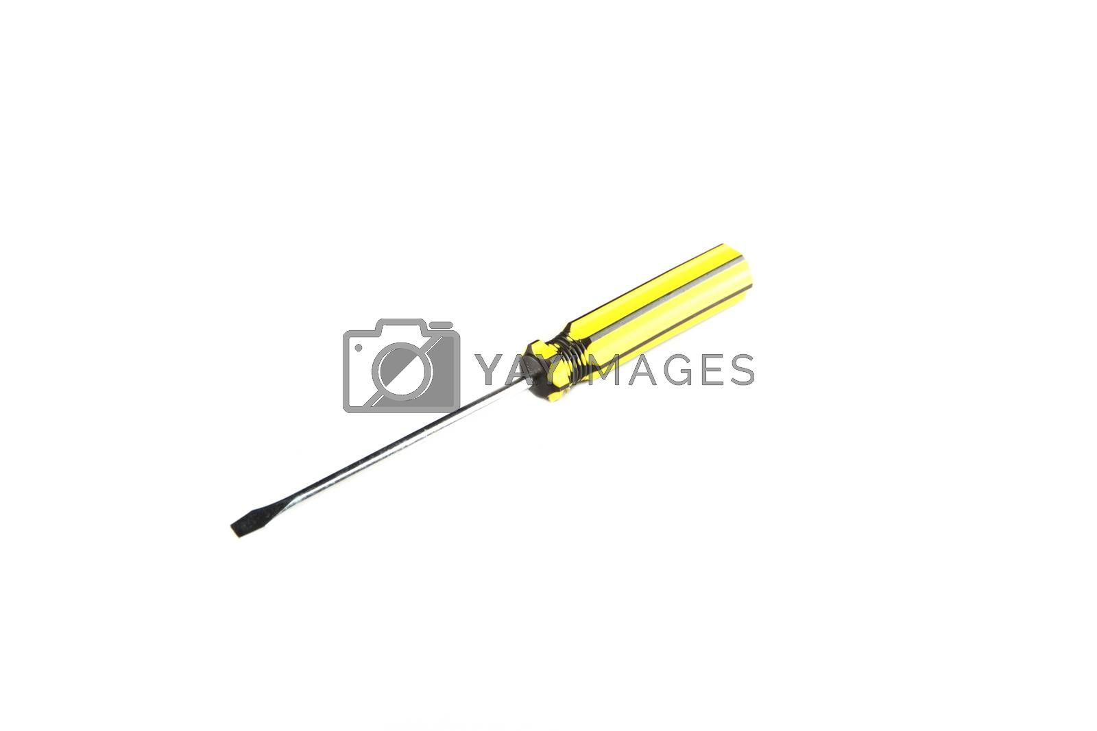 Yellow tool of screwdriver isolated. by meepoohyaphoto