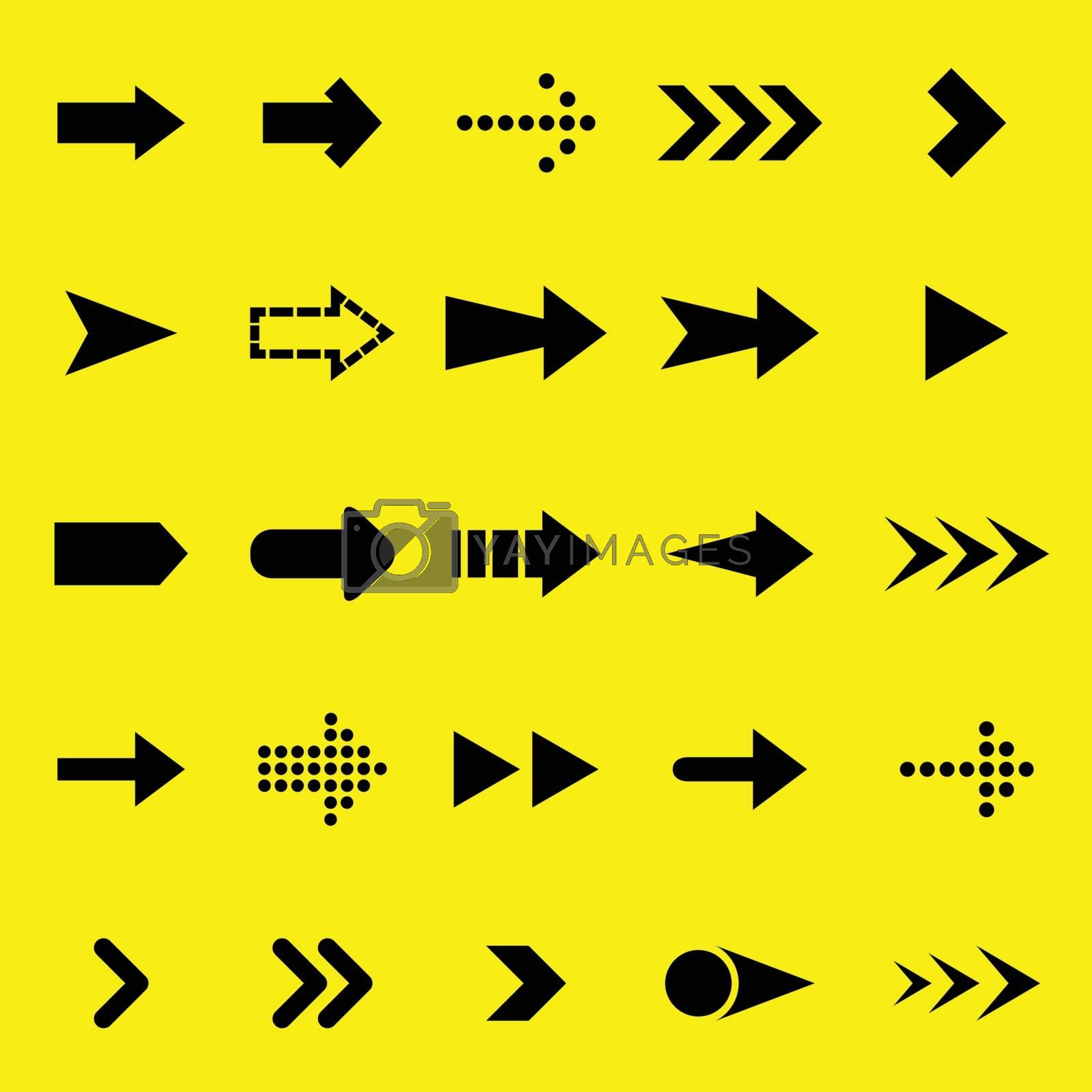 Arrow black icons on yellow background by punsayaporn