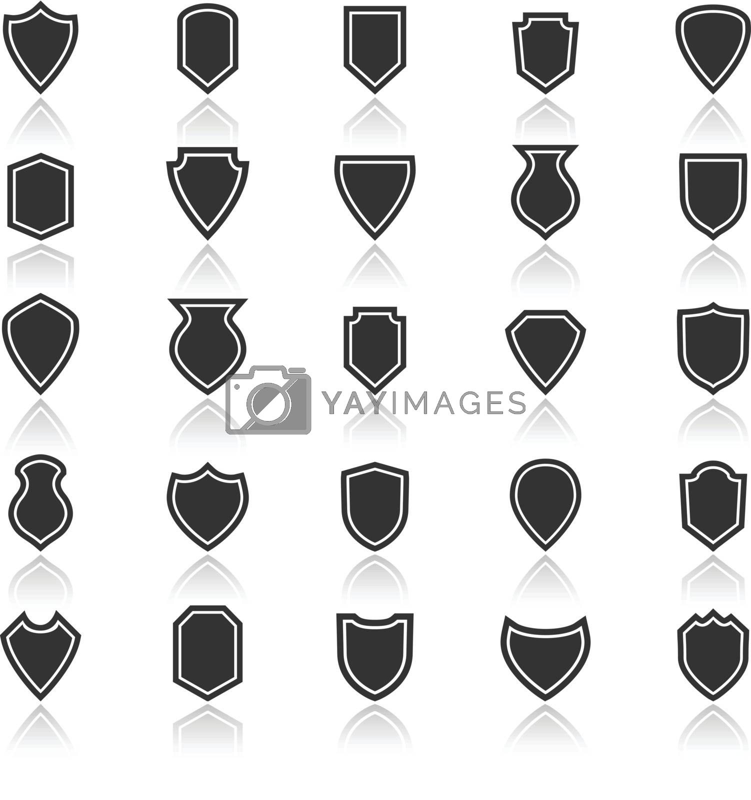 Shield icons with reflect on white background, stock vector